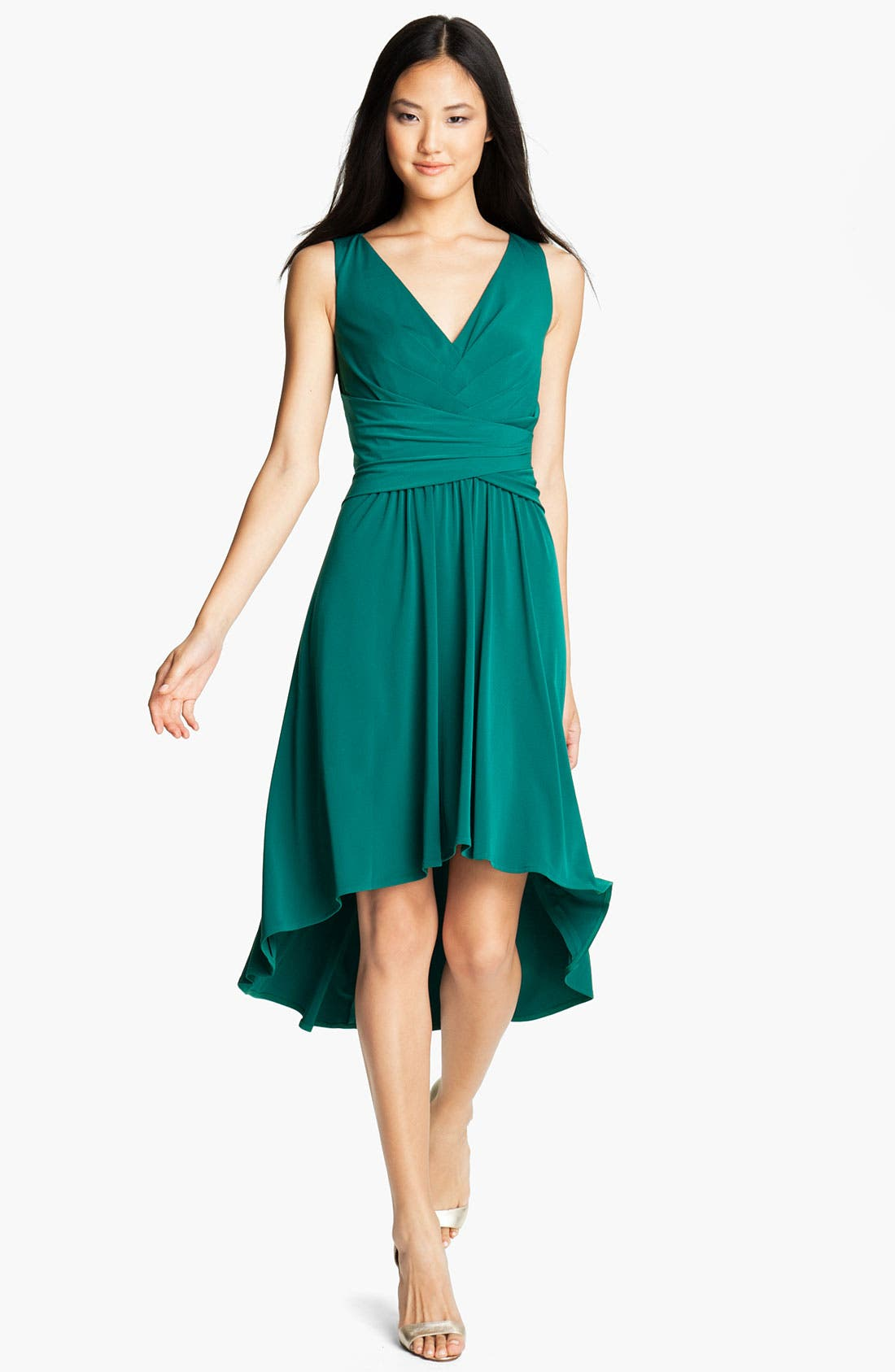 Main Image - Suzi Chin for Maggy Boutique Pleated V-Neck Dress (Petite)