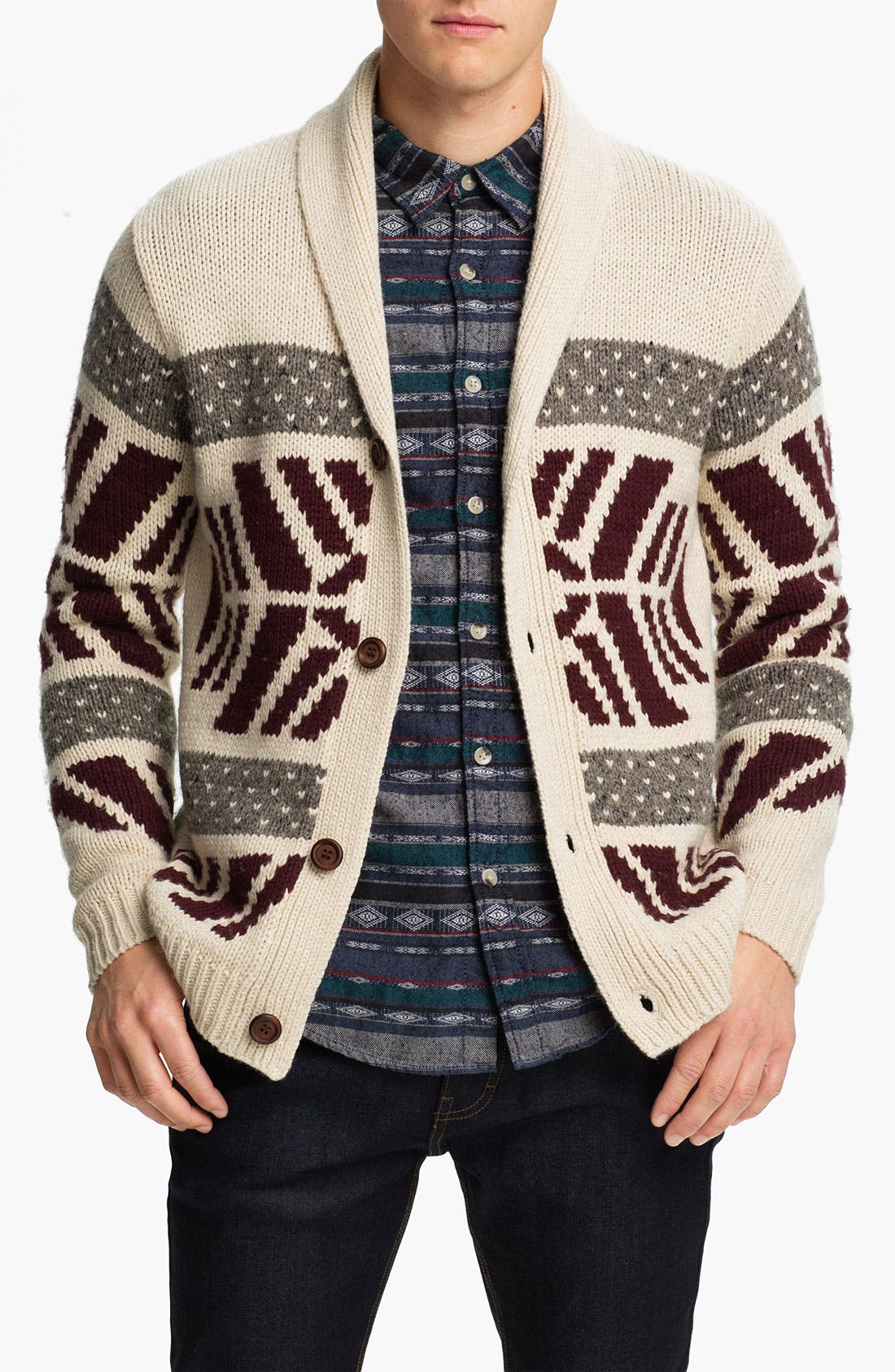 Alternate Image 1 Selected - Topman Pattern Shawl Collar Cardigan