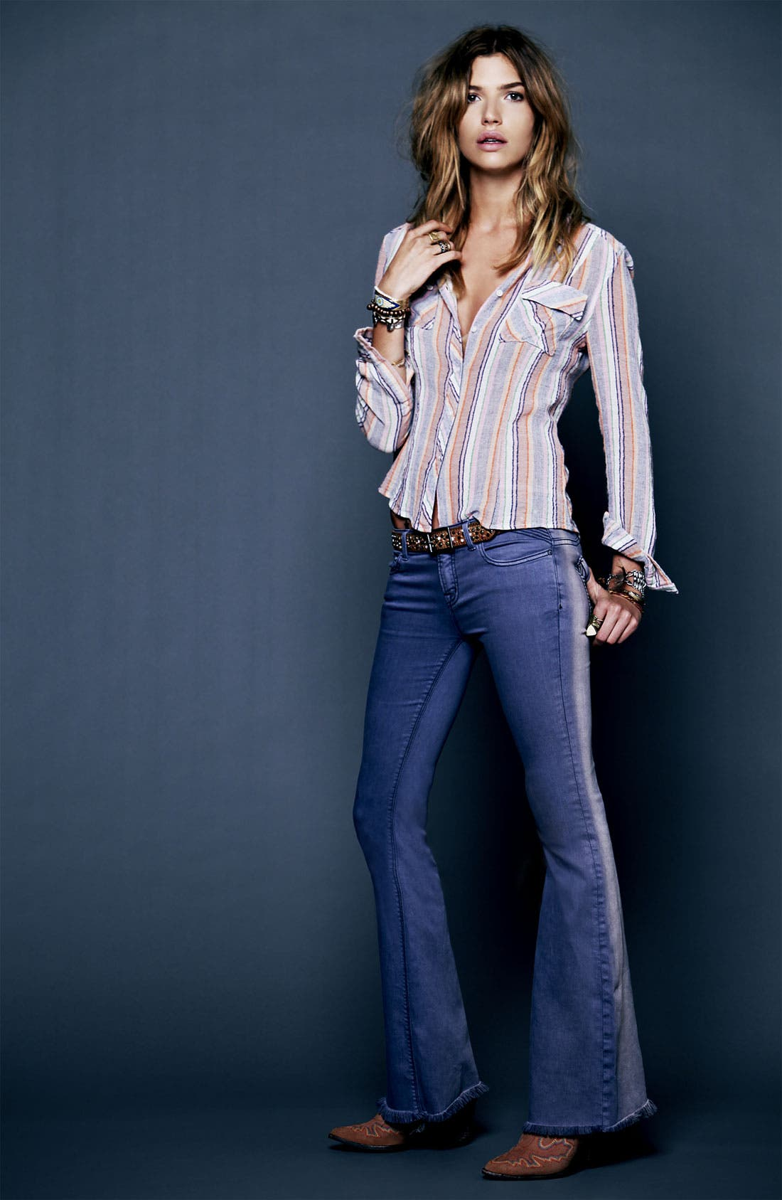 Alternate Image 4  - Free People 'Midwest' Stripe Shirt