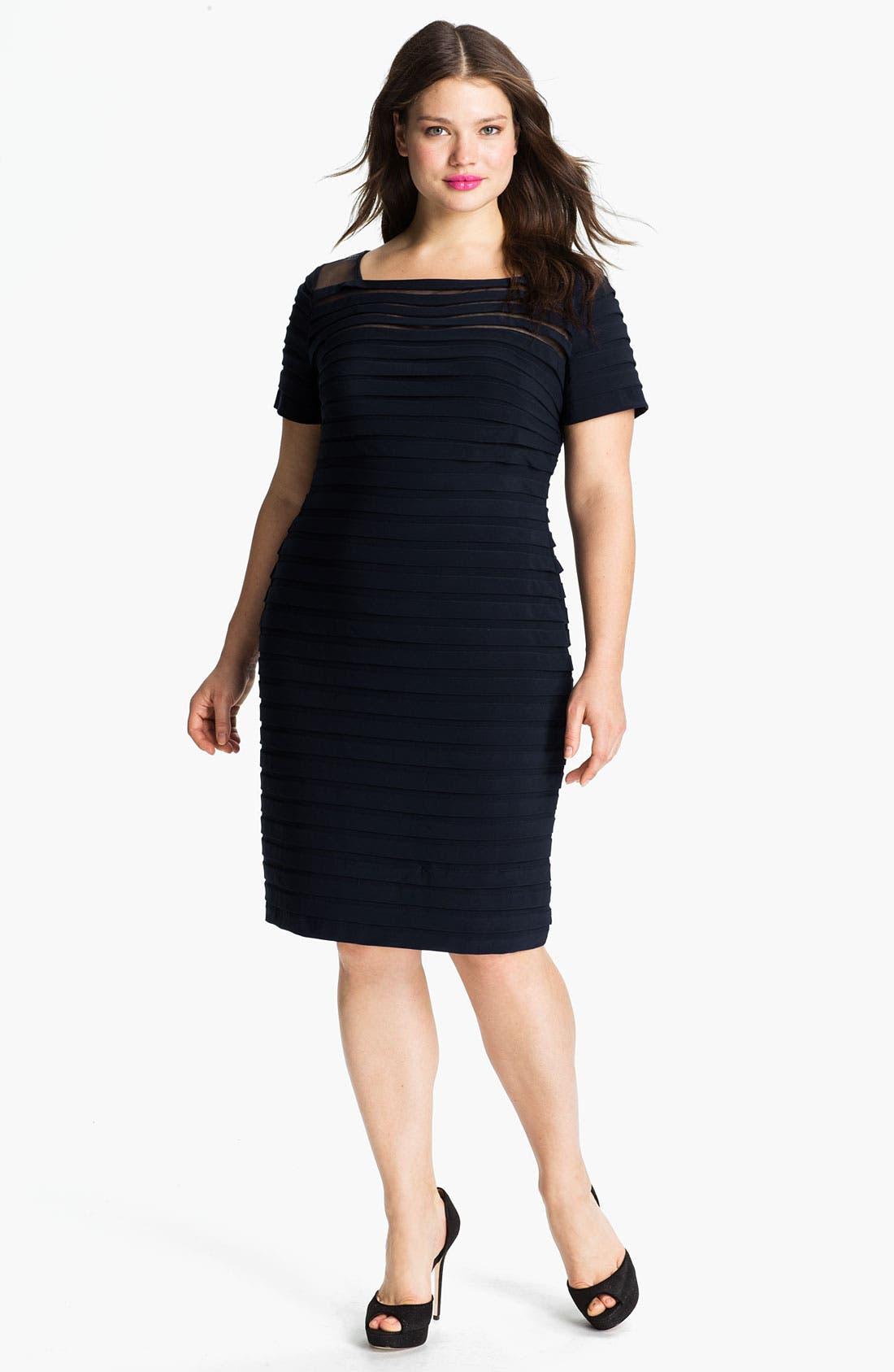 Main Image - Adrianna Papell Illusion Bodice Pleated Jersey Sheath Dress (Plus Size)