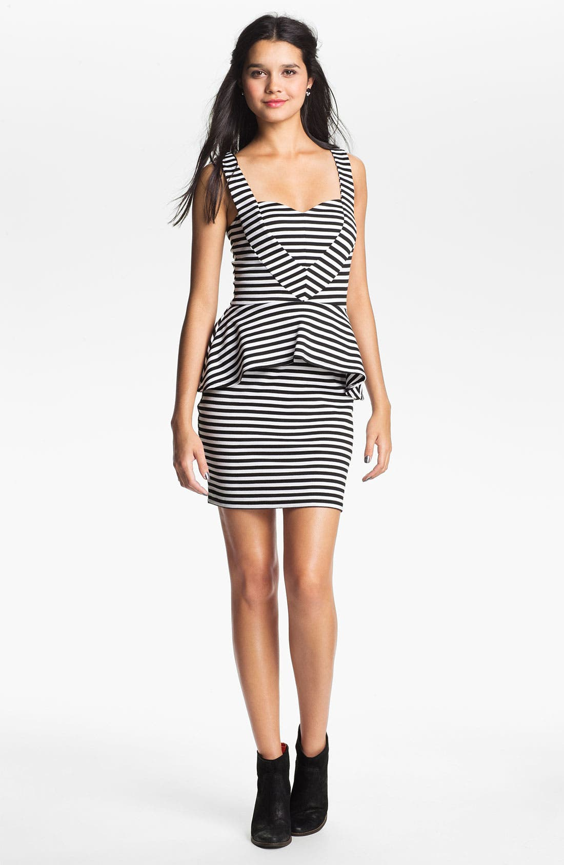 Alternate Image 1 Selected - Liberty Love Stripe Peplum Dress (Juniors)