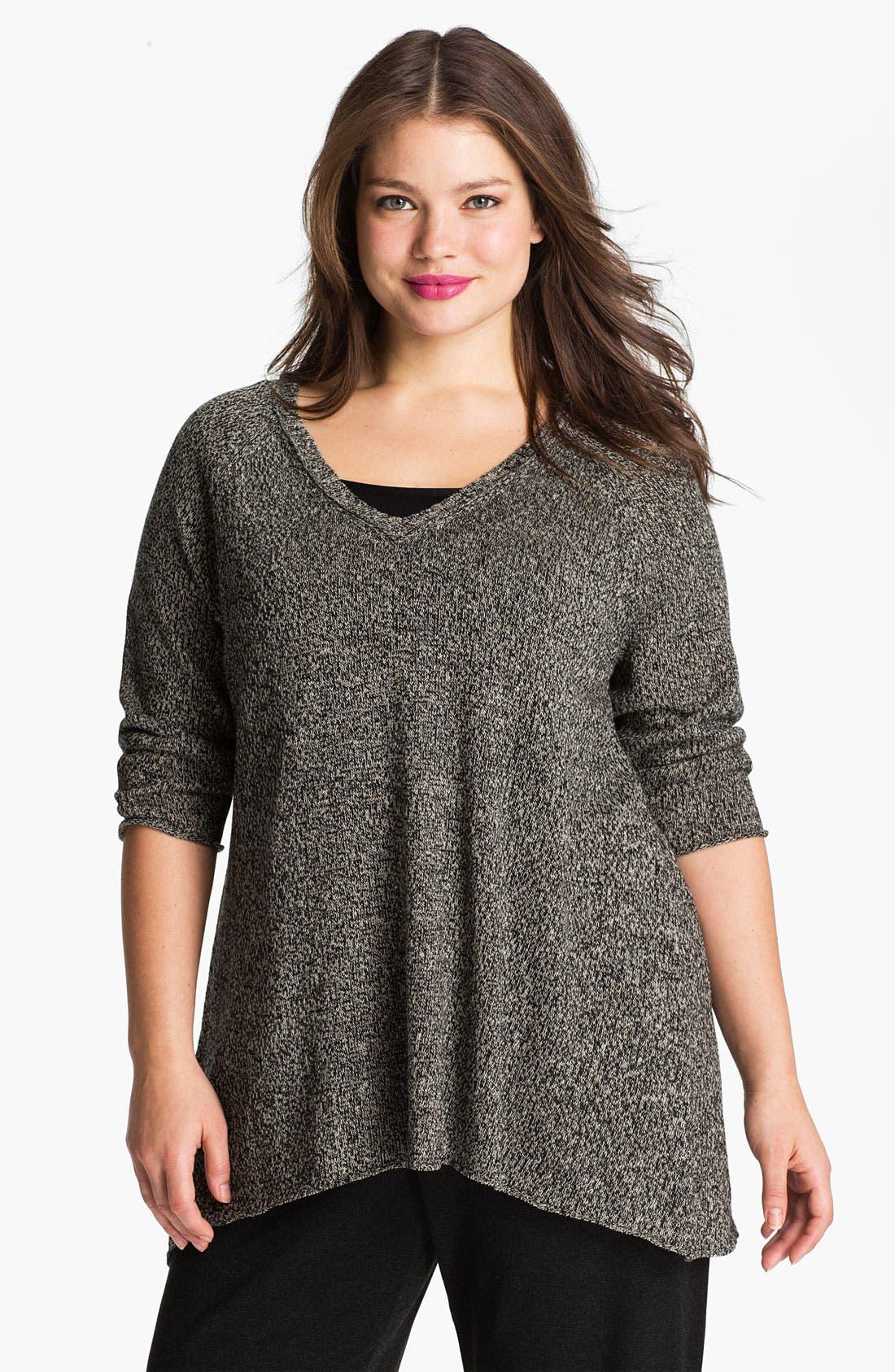 Alternate Image 1 Selected - Eileen Fisher V-Neck Sweater (Plus)