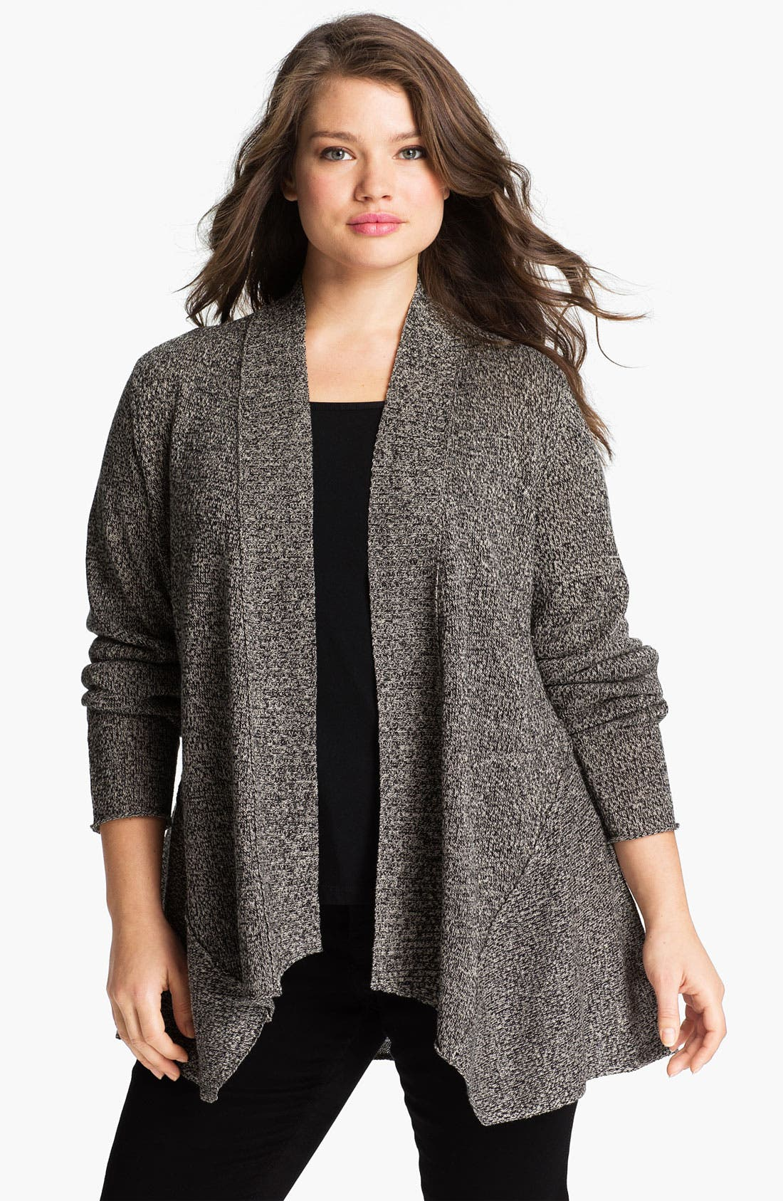 Alternate Image 1 Selected - Eileen Fisher Shaped Open Front Cardigan (Plus)
