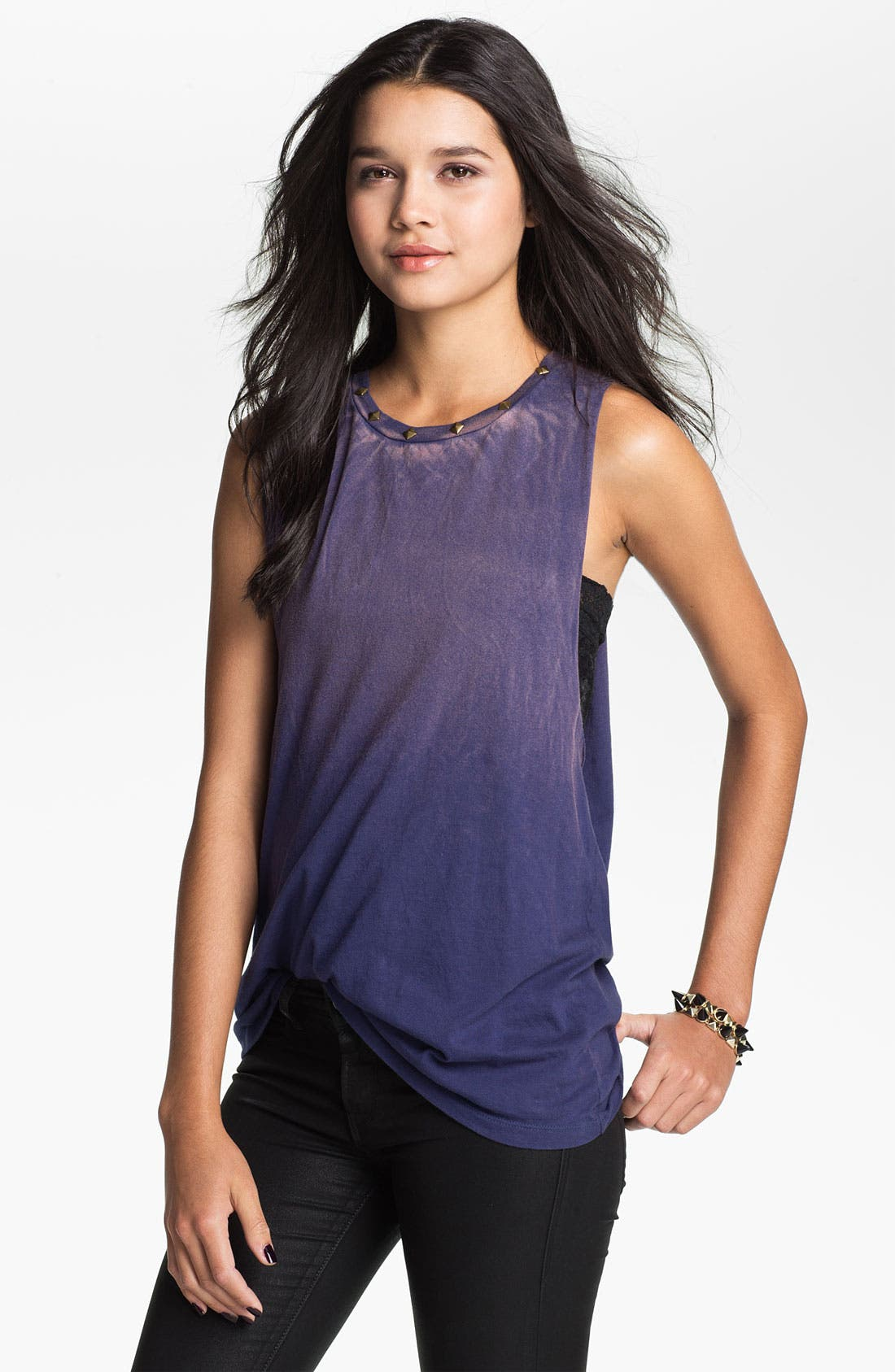 Alternate Image 1 Selected - Project Social T Stud Detail Ombré Cutoff Tank (Juniors)