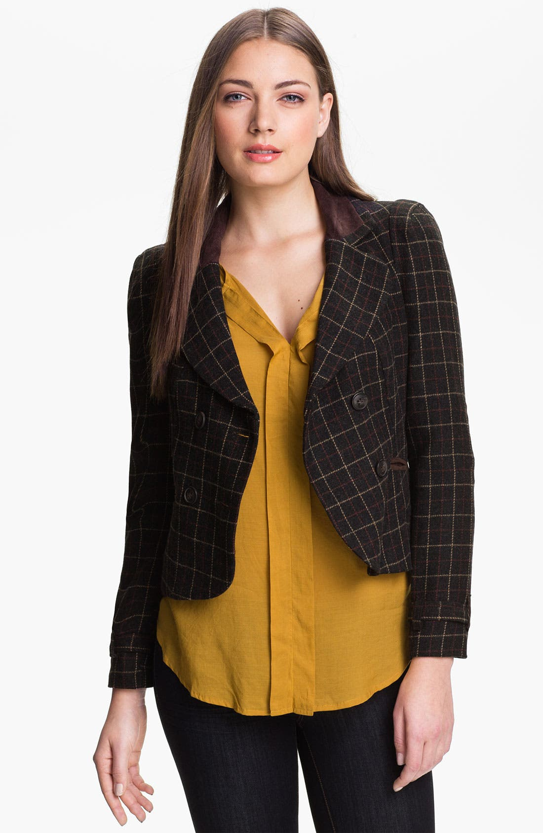 Alternate Image 1 Selected - Max & Mia Plaid Riding Blazer