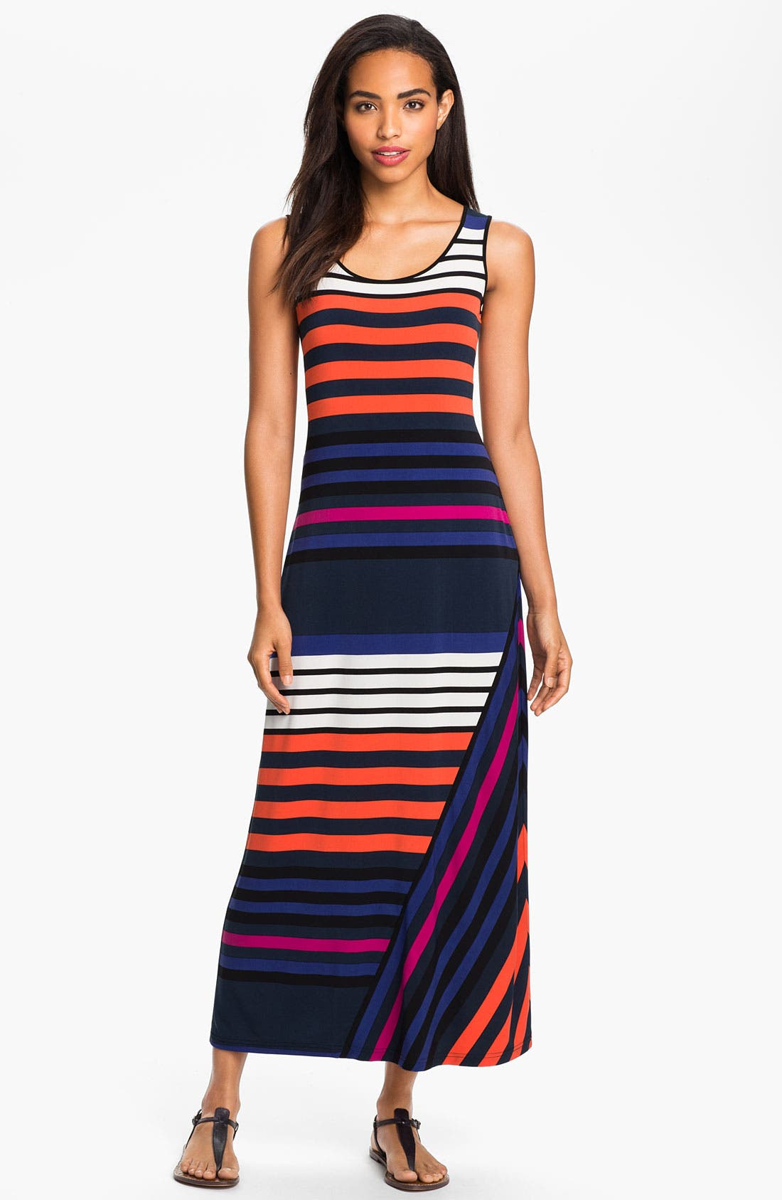 Alternate Image 1 Selected - Calvin Klein Multi Stripe Tank Maxi Dress
