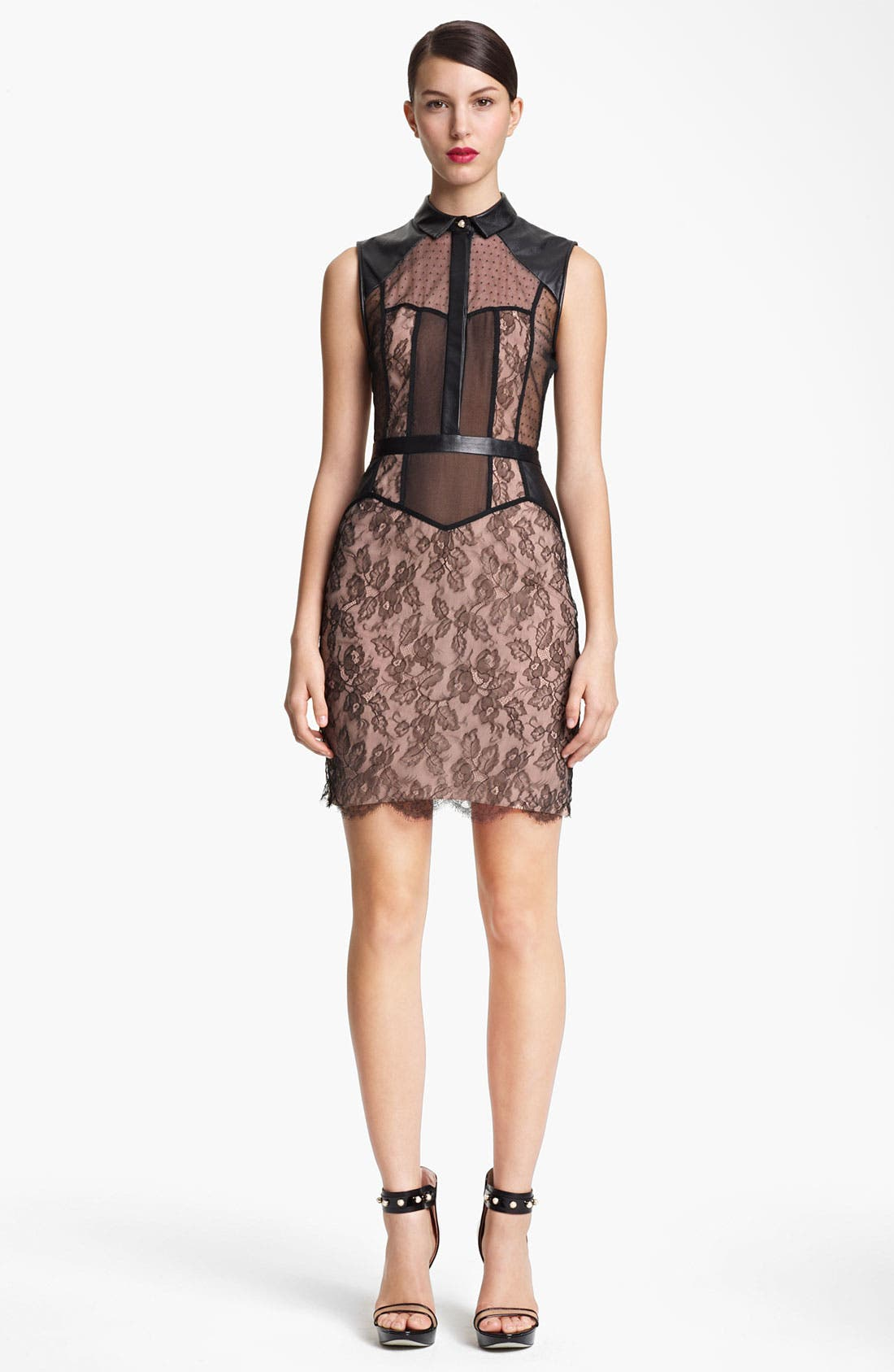 Main Image - Jason Wu Belted Leather & Multi Lace Dress