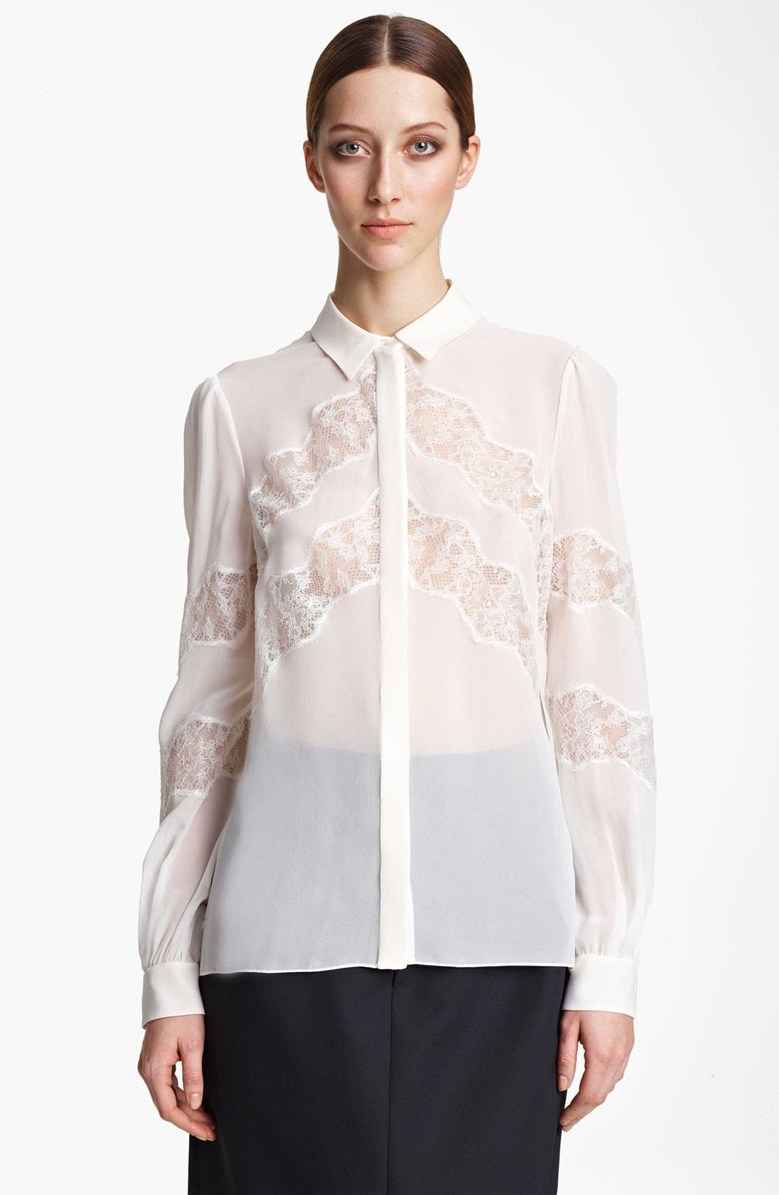 Main Image - Valentino Lace Accent Georgette Blouse