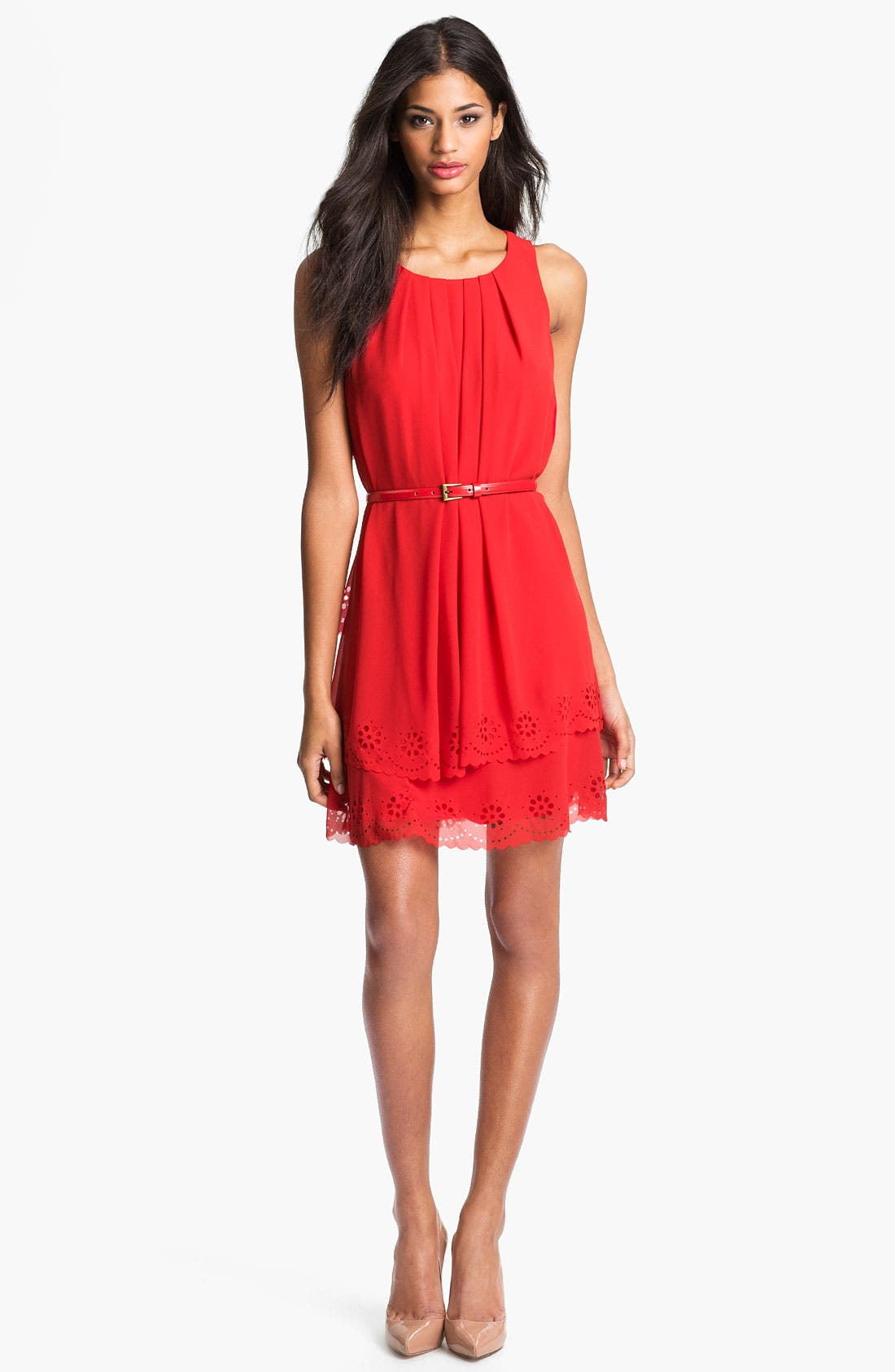 Main Image - Jessica Simpson Tiered Eyelet Crêpe de Chine Dress