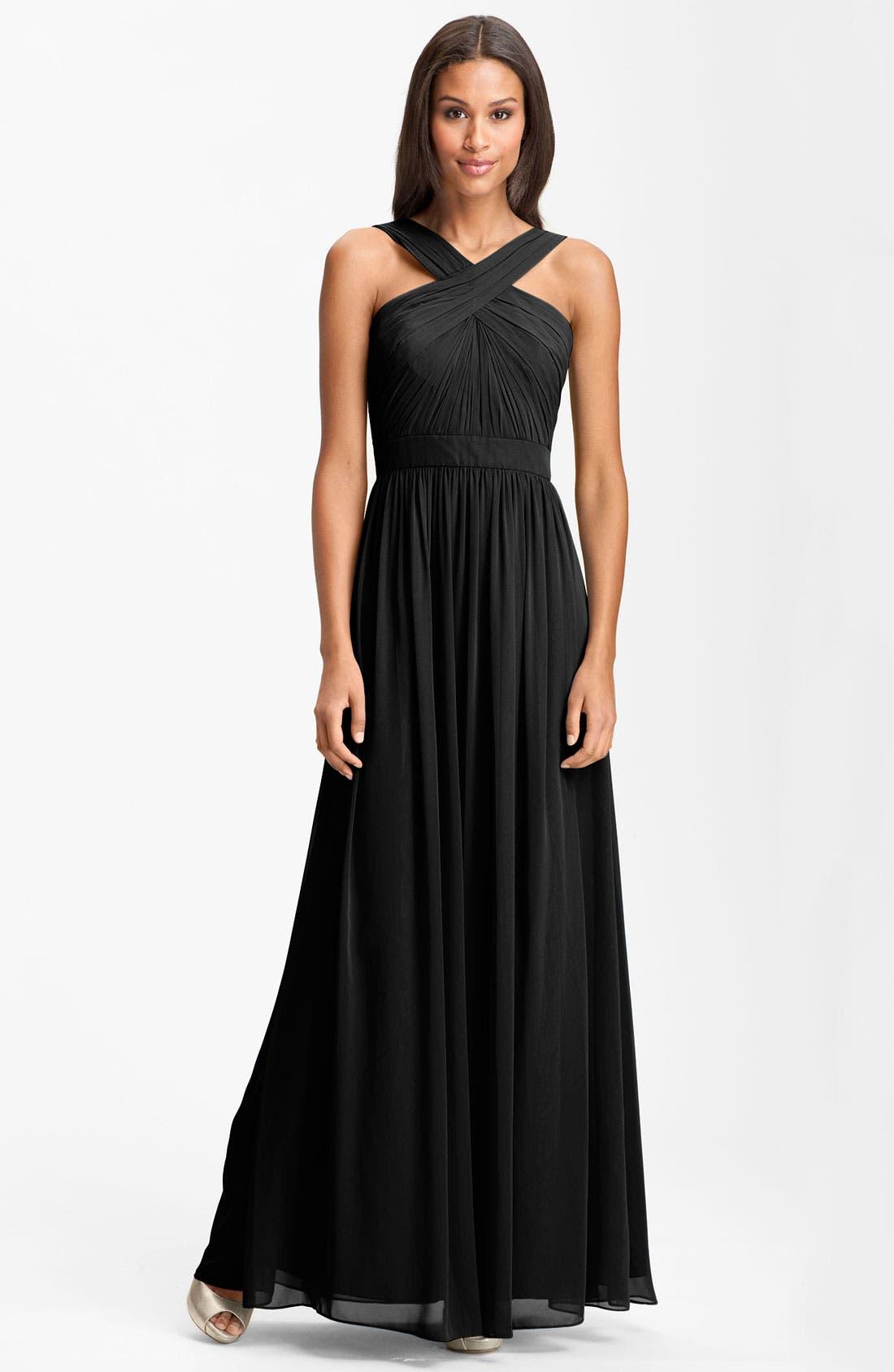 Main Image - Monique Lhuillier Bridesmaids Crisscross Chiffon Gown (Nordstrom Exclusive)