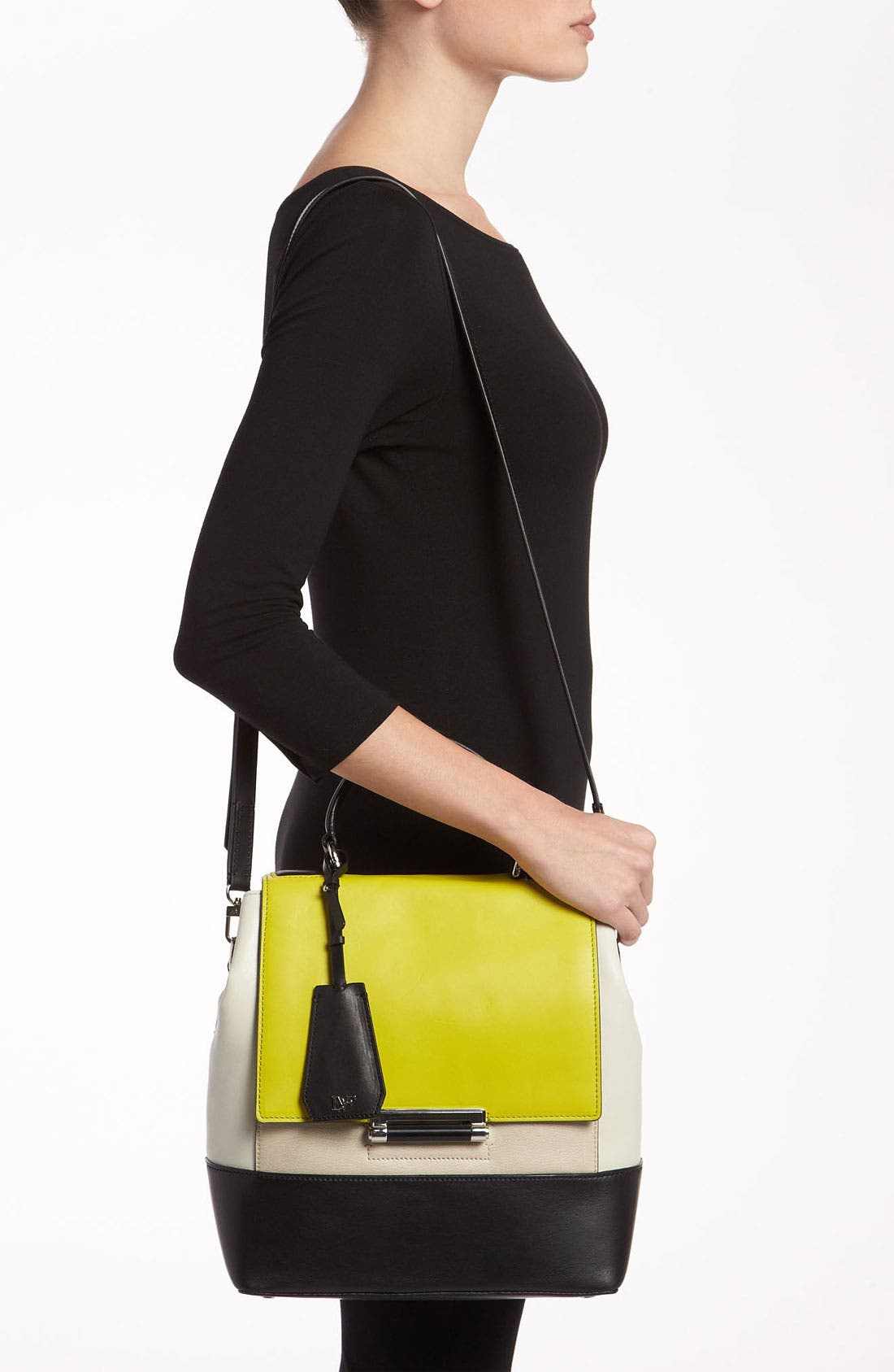 Alternate Image 2  - Diane von Furstenberg '440 Top Handle - Small' Colorblock Satchel