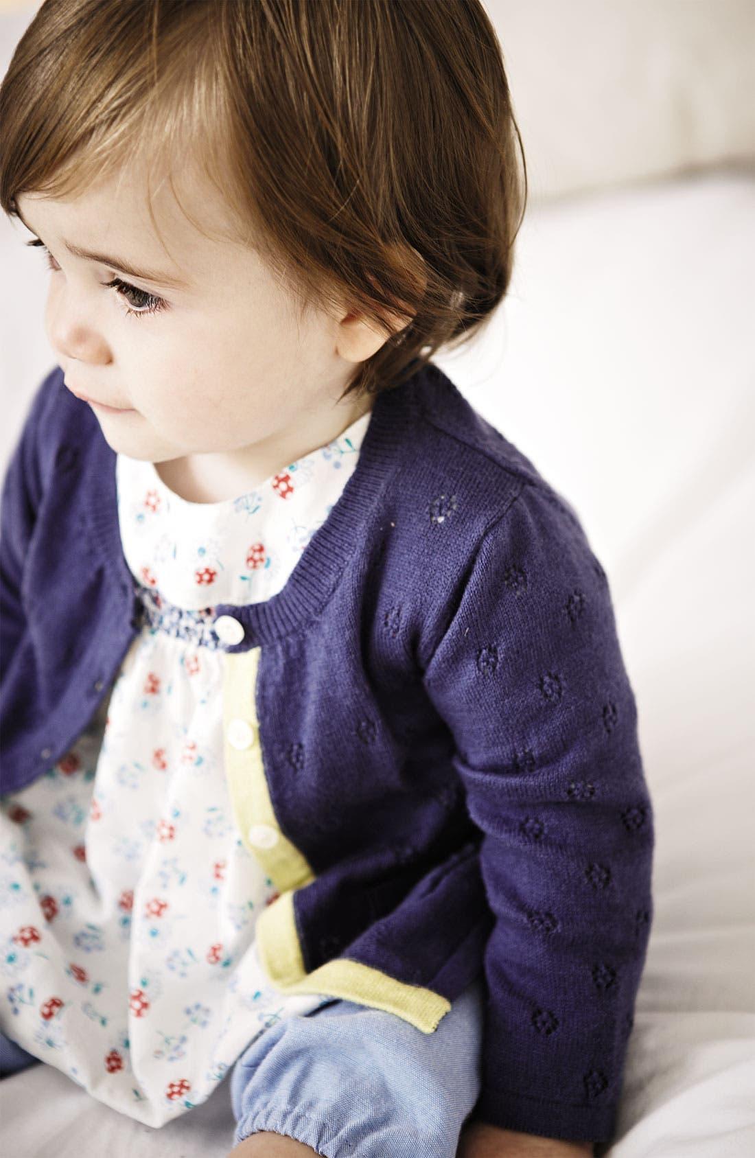 Alternate Image 2  - Mini Boden Pointelle Cardigan (Baby)