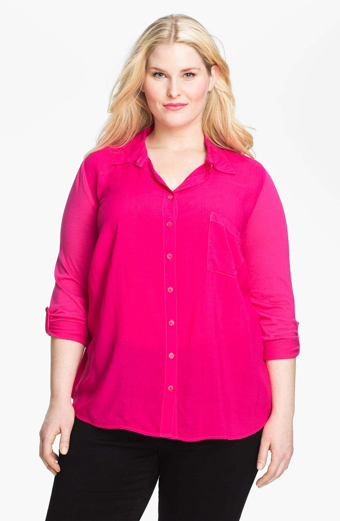 Main Image - Splendid Mixed Media Shirt (Plus Size)