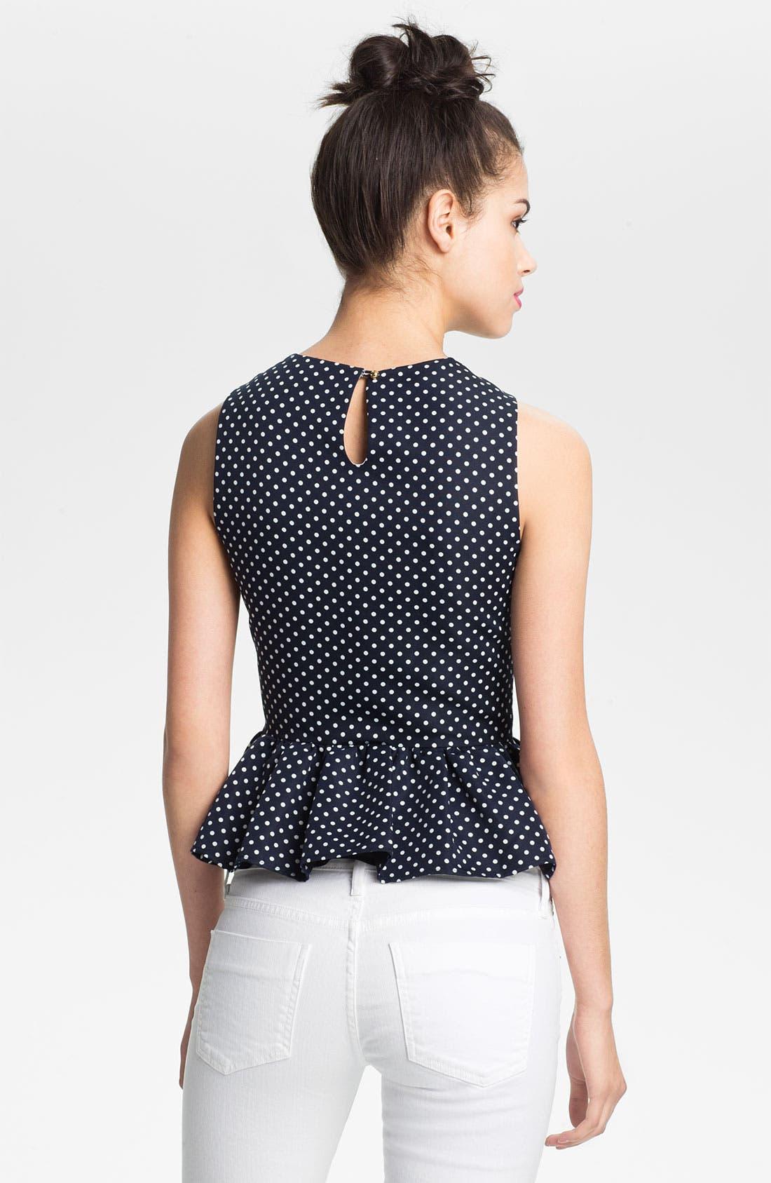 Alternate Image 2  - Juicy Couture Polka Dot Pleated Peplum Top