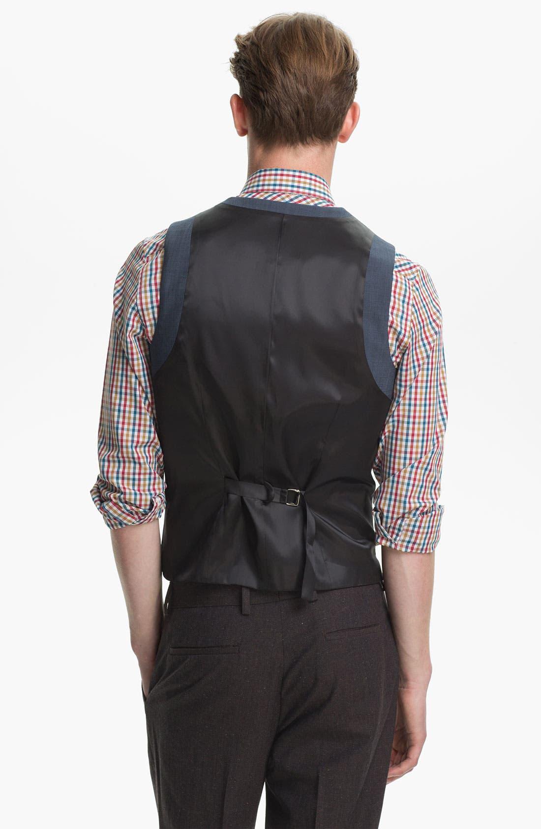 Alternate Image 2  - Topman Skinny Wool Blend Waistcoat