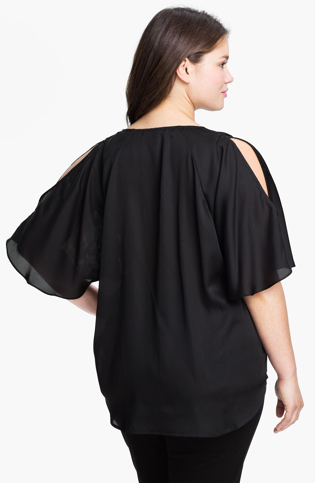 Alternate Image 2  - Kenneth Cole New York Placed Peony Cold Shoulder Top (Plus)