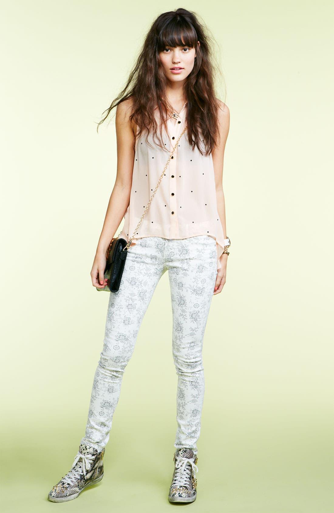 Alternate Image 3  - Vigoss Paisley Print Skinny Jeans (Juniors)