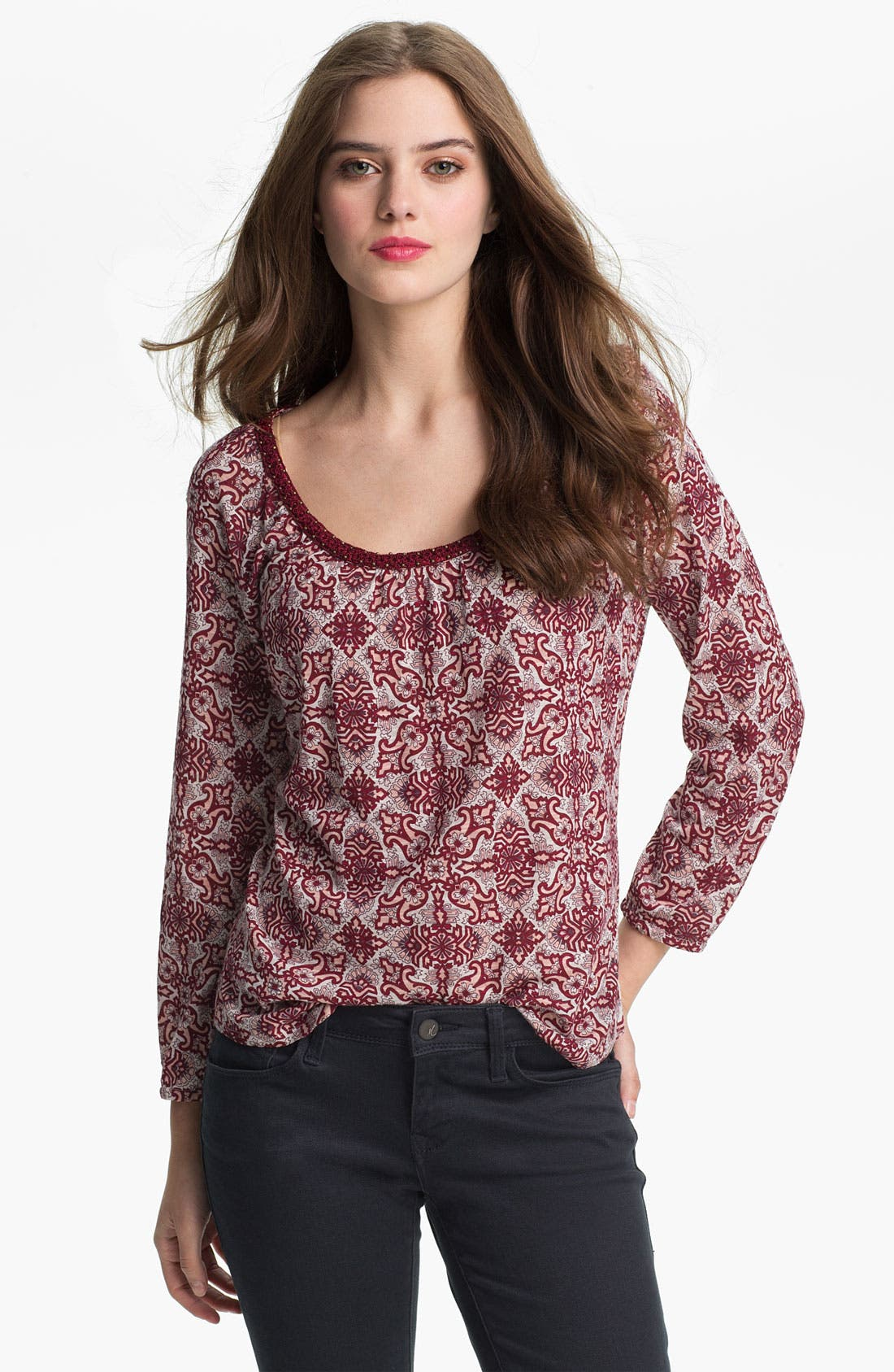 Alternate Image 1 Selected - Lucky Brand 'Ellie - Deco Woodblock' Top (Online Exclusive)