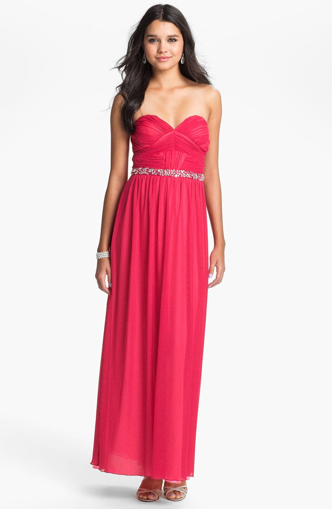 Alternate Image 1  - Way-In Strapless Pleated Chiffon Gown (Juniors)