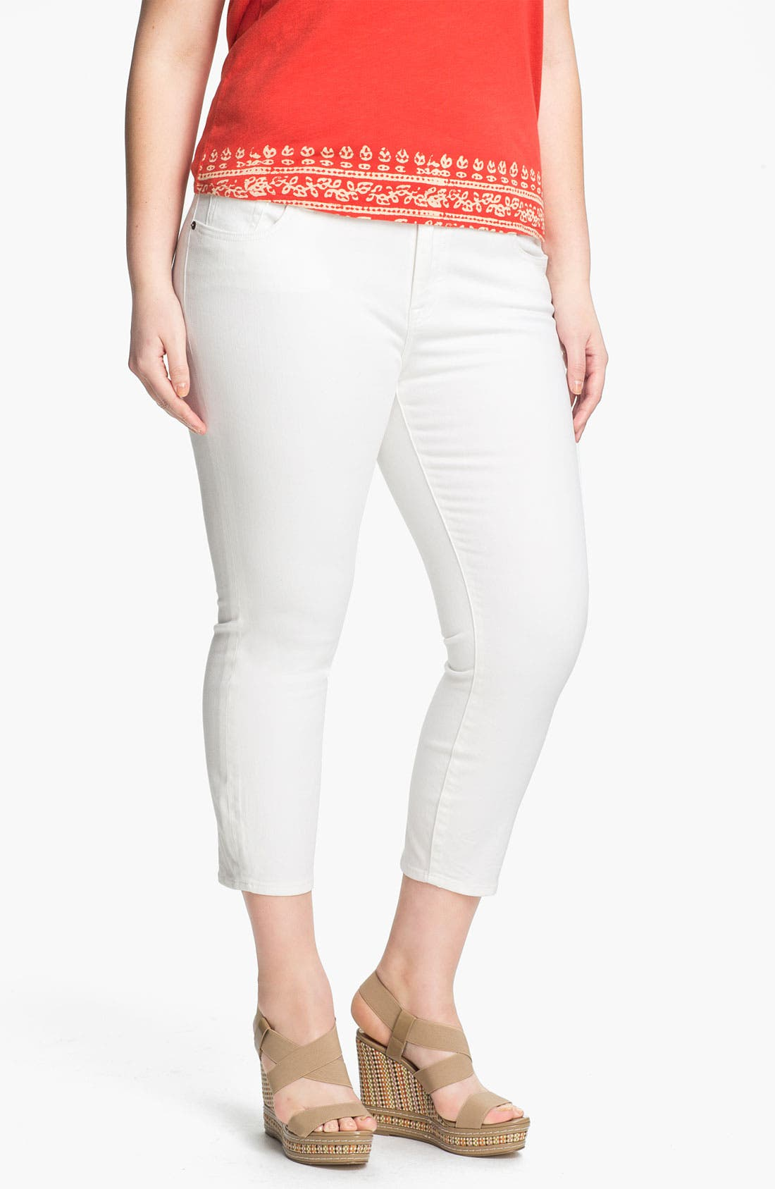 Alternate Image 1 Selected - Lucky Brand 'Ginger' Skinny Capri Jeans (Plus)