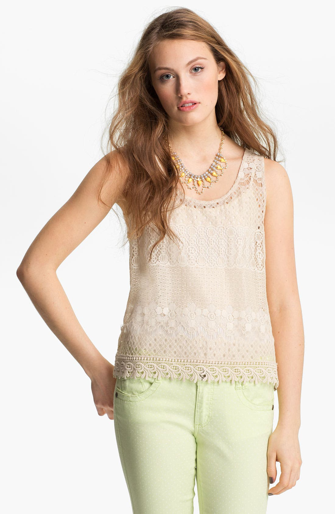 Alternate Image 1 Selected - Robin K Lace Tank (Juniors)
