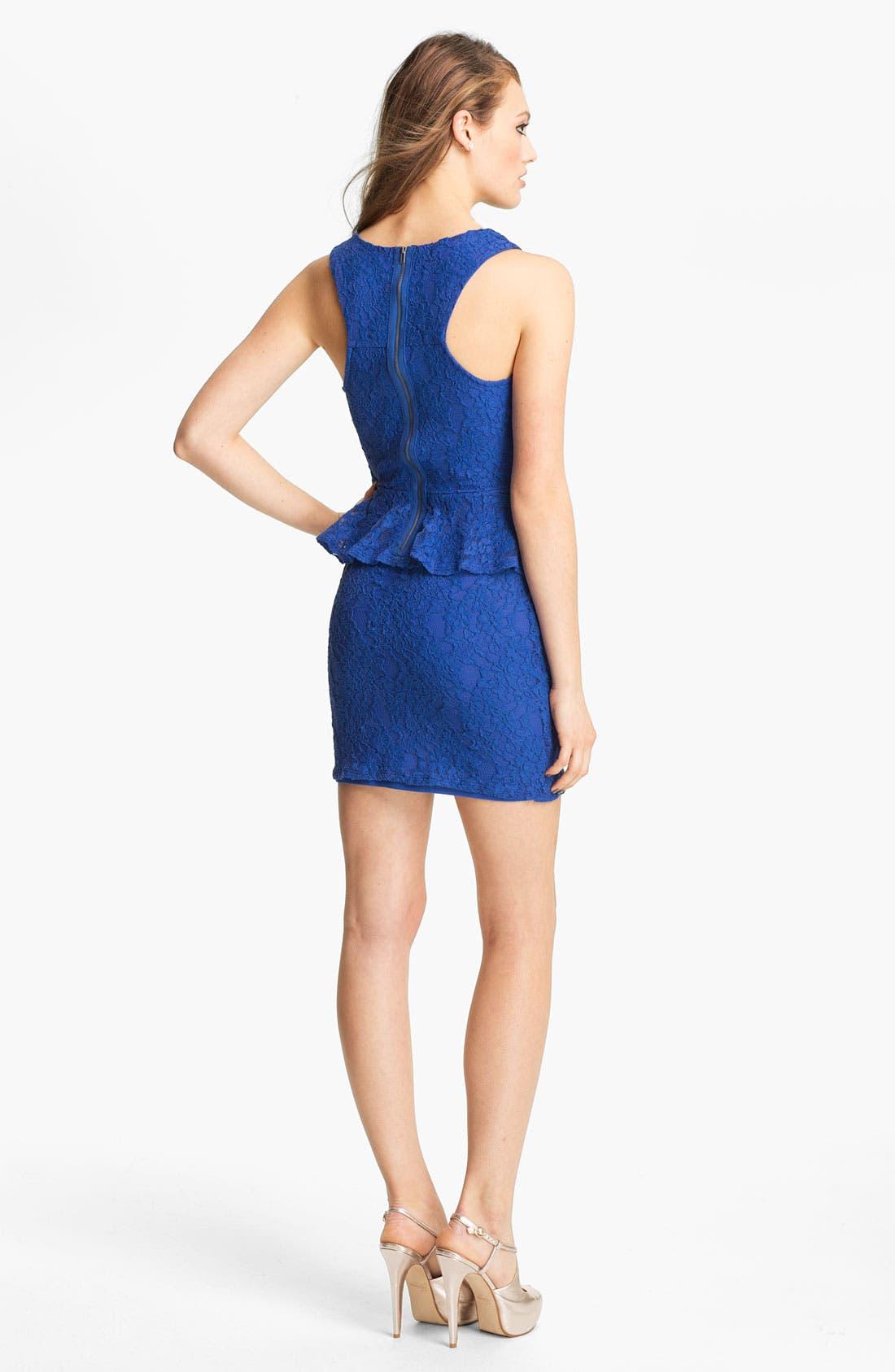 Alternate Image 2  - Fire Peplum Lace Body-Con Dress (Juniors)