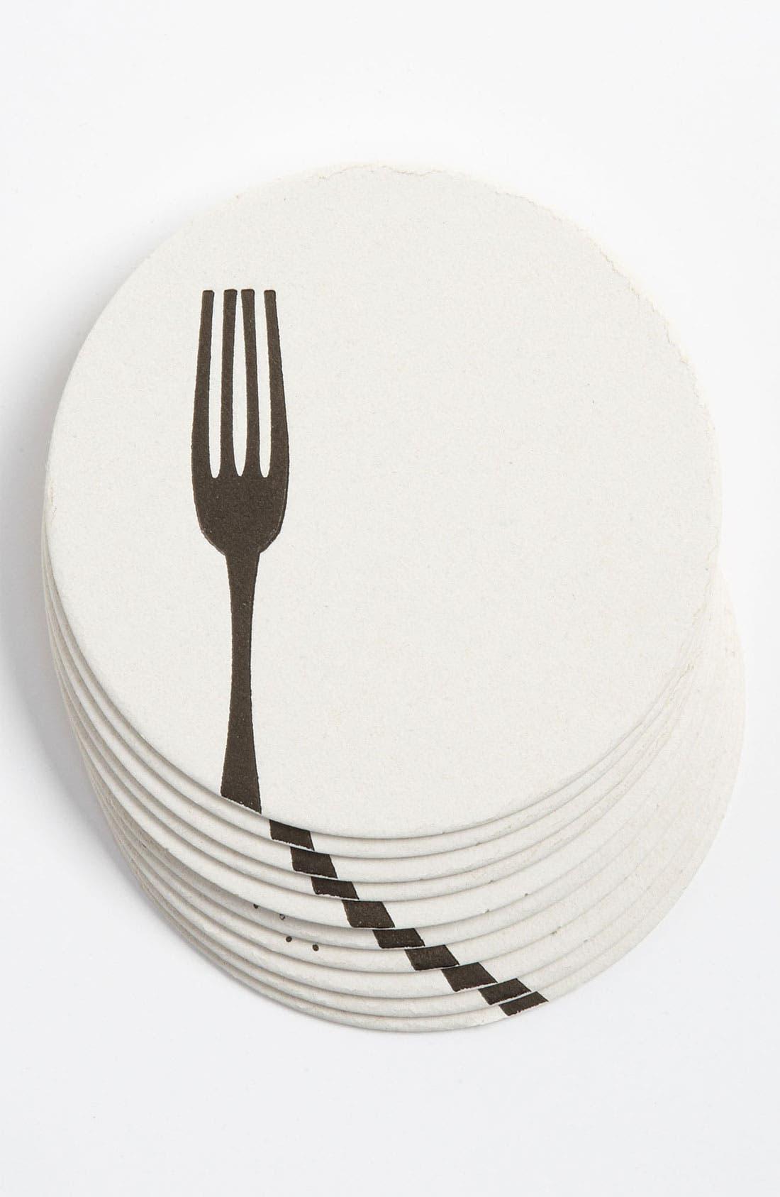 Main Image - 'Dinner Fork' Letterpress Coasters (Set of 10)