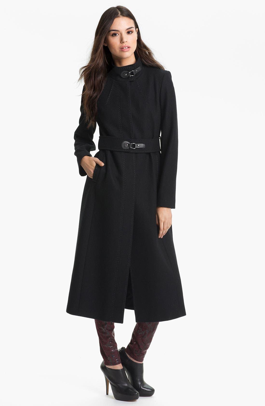 Main Image - Via Spiga 'Maria' Tab Trim Coat (Nordstrom Exclusive)