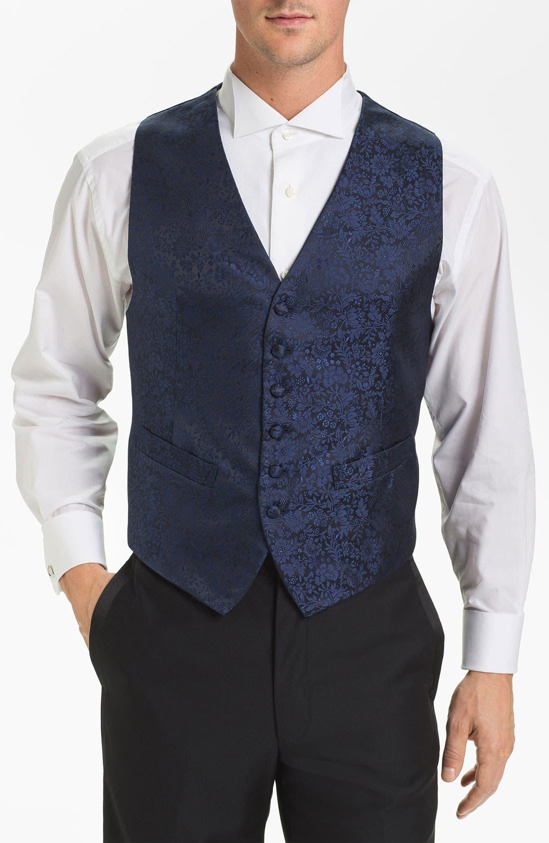 Alternate Image 1 Selected - David Donahue Floral Silk Vest