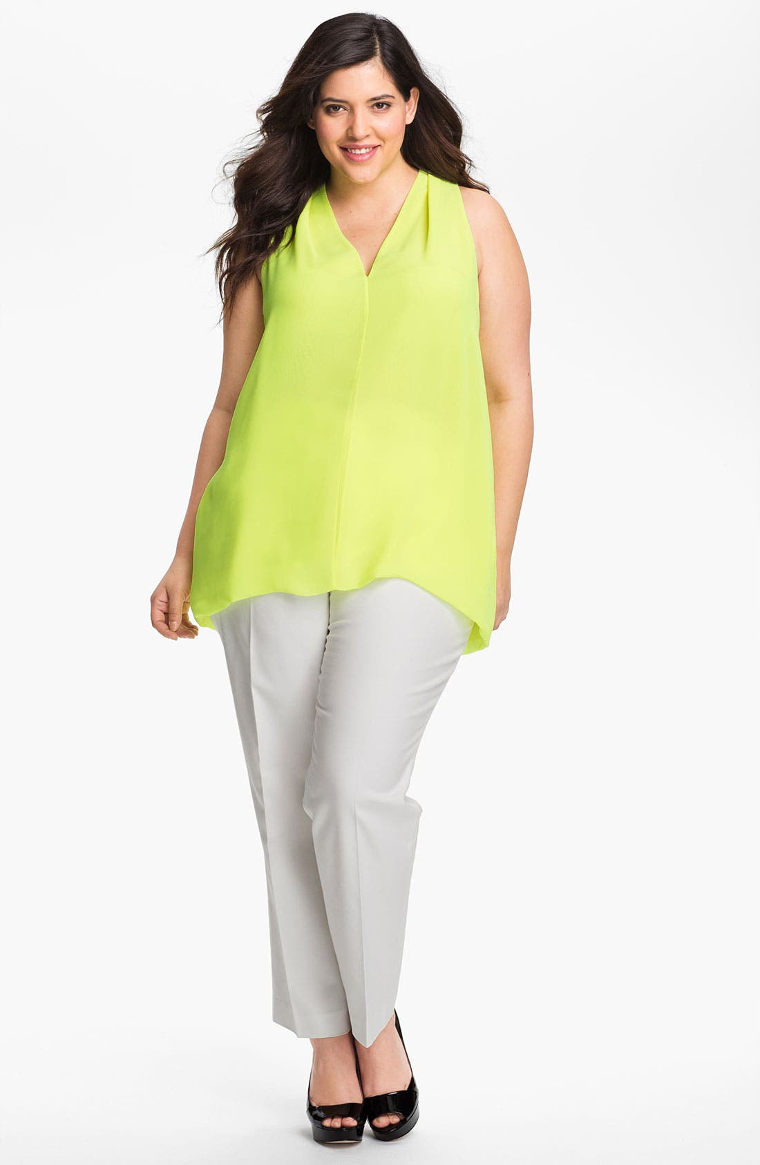 Alternate Image 4  - Vince Camuto Sleeveless V-Neck Blouse (Plus Size)