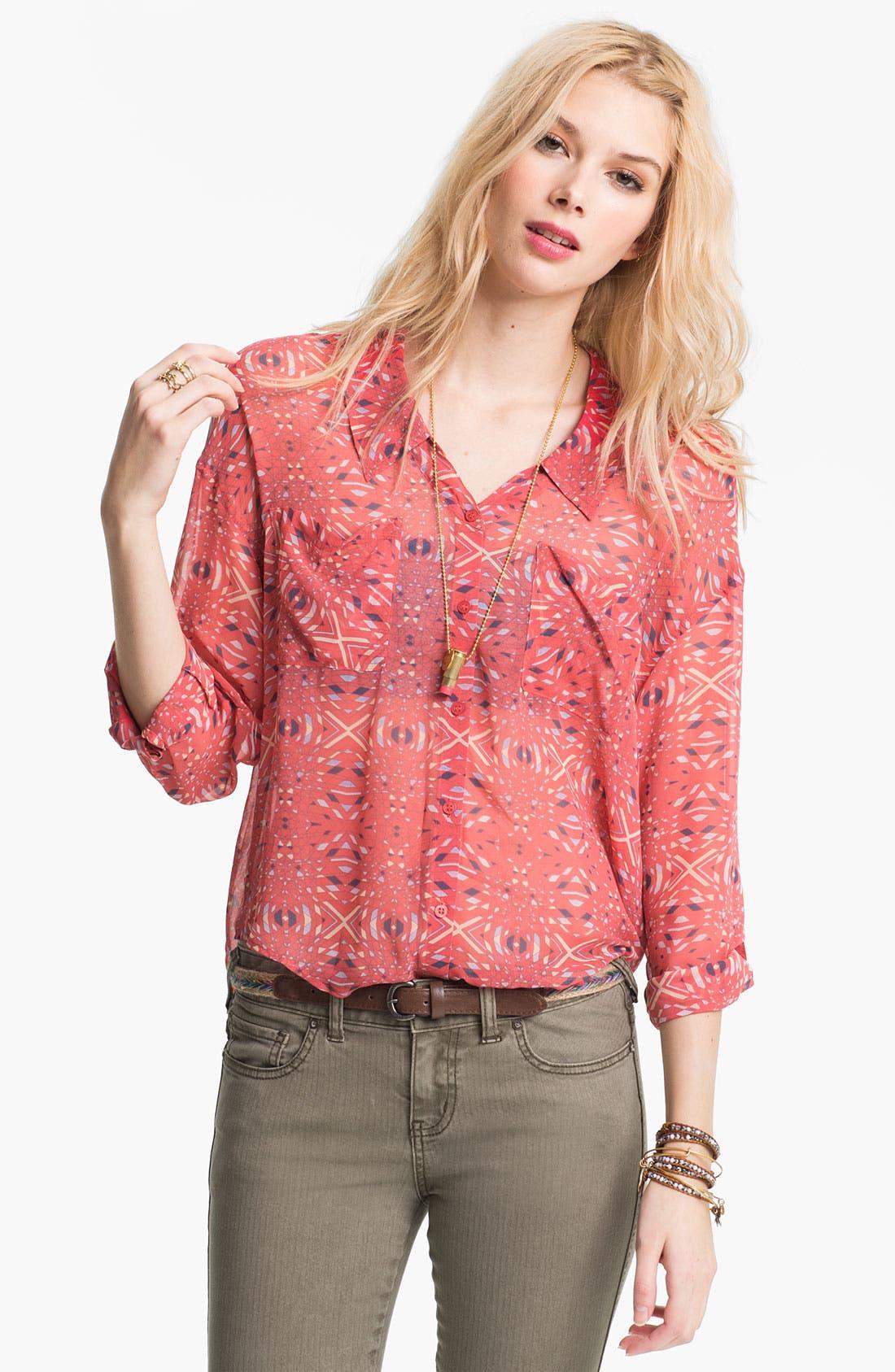 Alternate Image 1 Selected - Free People Kaleidoscope Print Chiffon Shirt