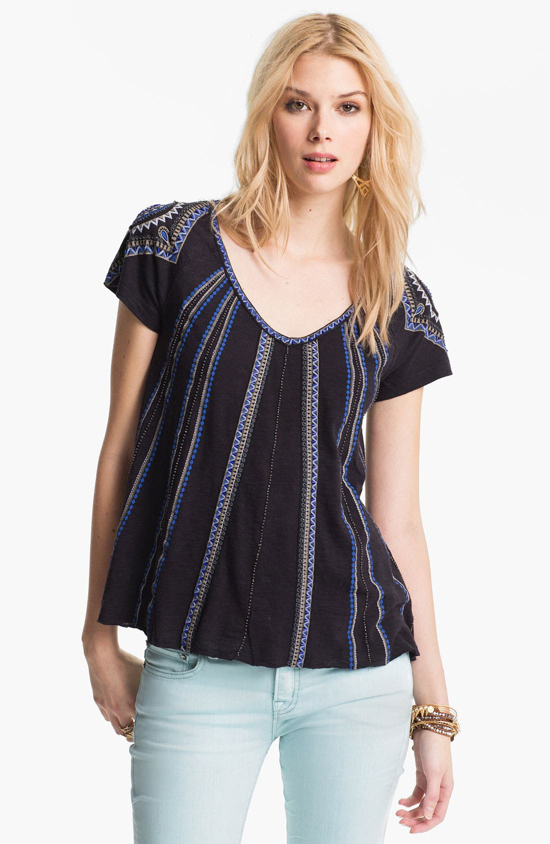 Main Image - Free People 'Boho Meadow' Embellished Peasant Tee