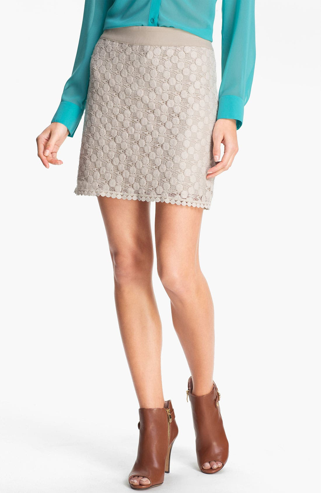 Alternate Image 1 Selected - Kensie Dot Lace Skirt