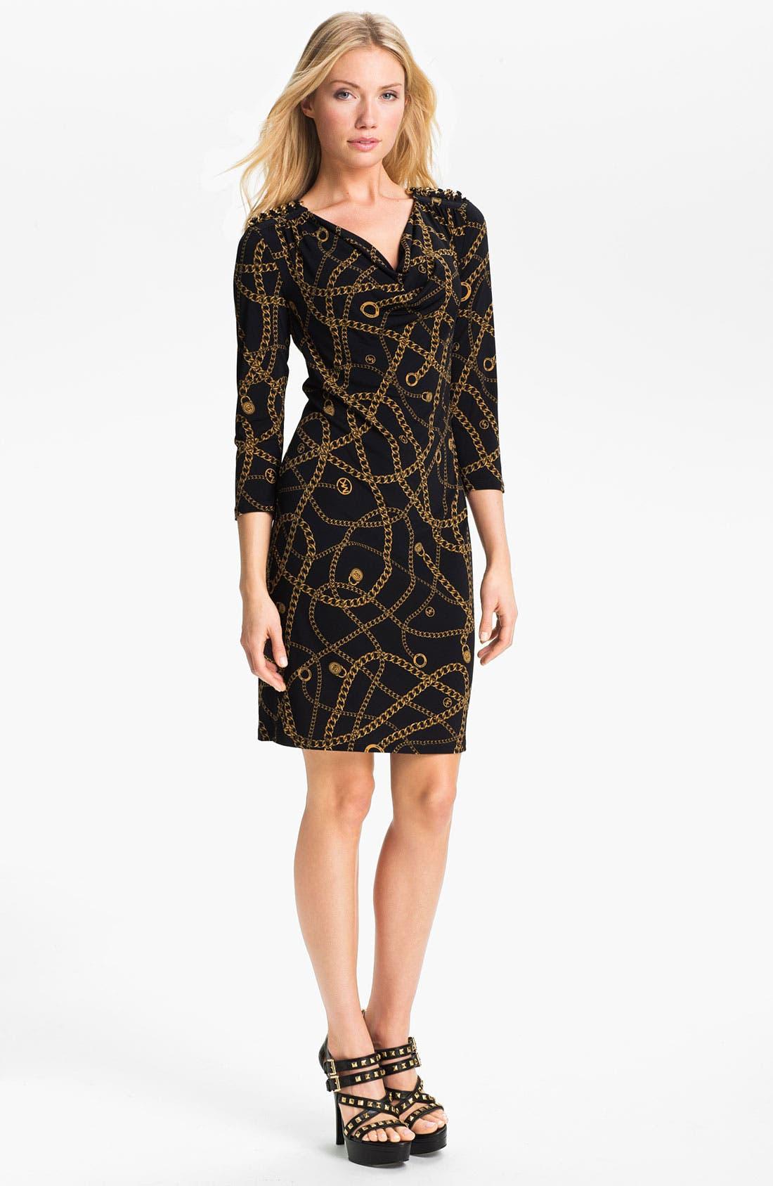 Alternate Image 1 Selected - MICHAEL Michael Kors 'Hamilton' Chain Print Dress (Petite)