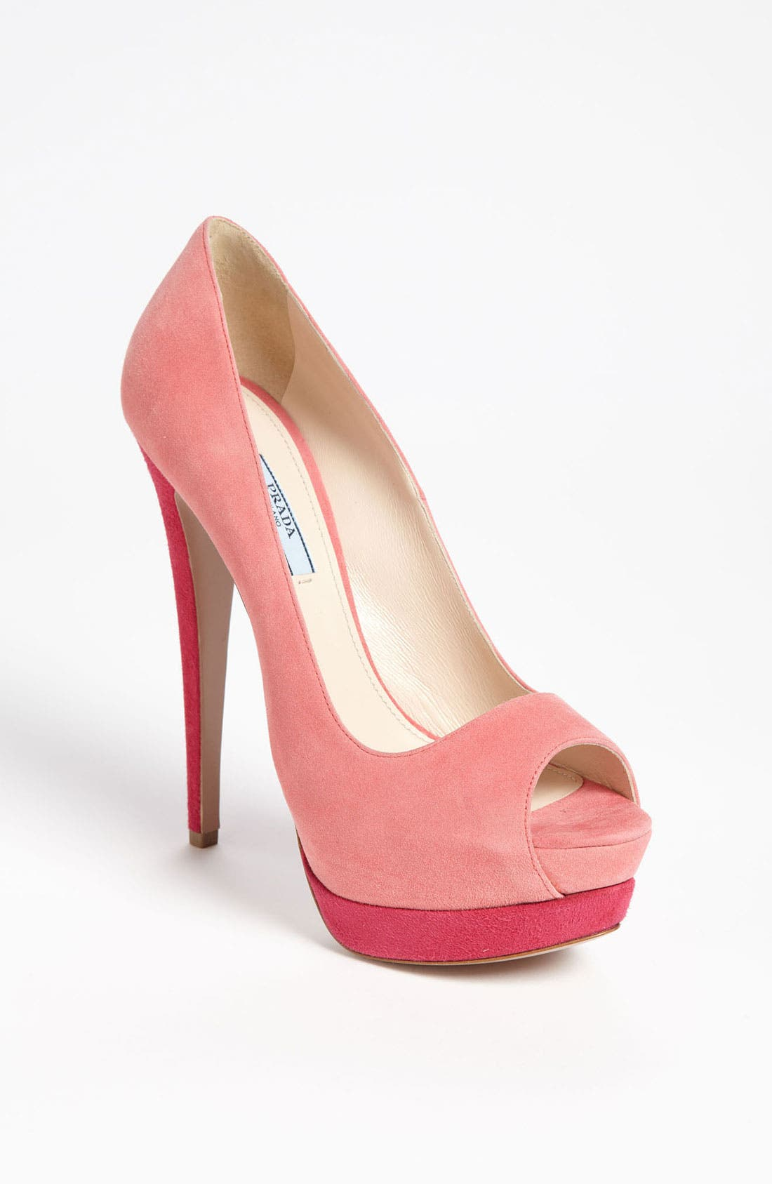 Alternate Image 1 Selected - Prada Bicolor Peep Toe Pump
