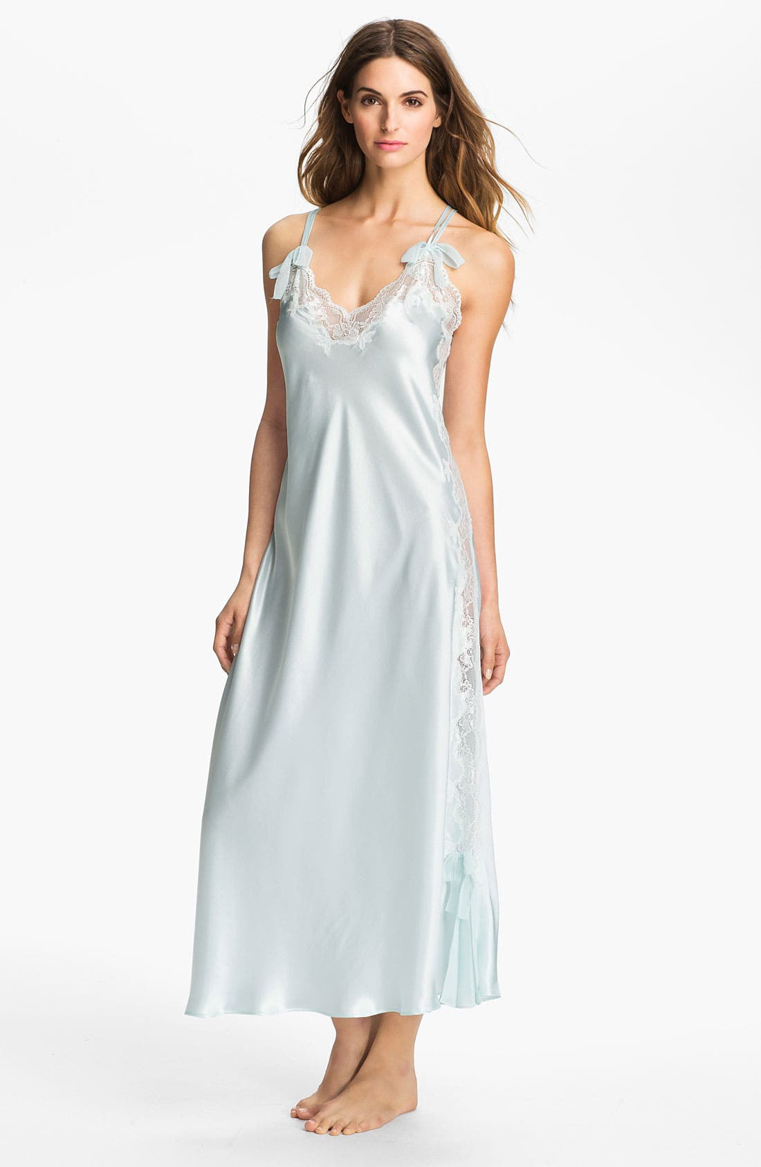 Alternate Image 1 Selected - Oscar de la Renta Sleepwear 'Lovely in Lace' Charmeuse Nightgown