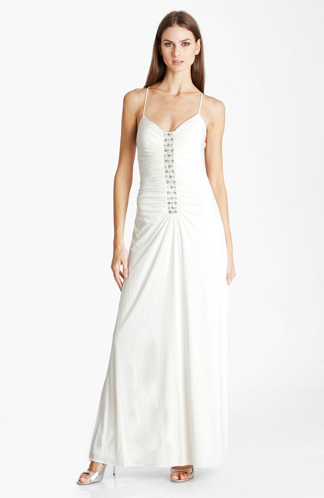 Alternate Image 1 Selected - JS Boutique Embellished Ruched Jersey Gown