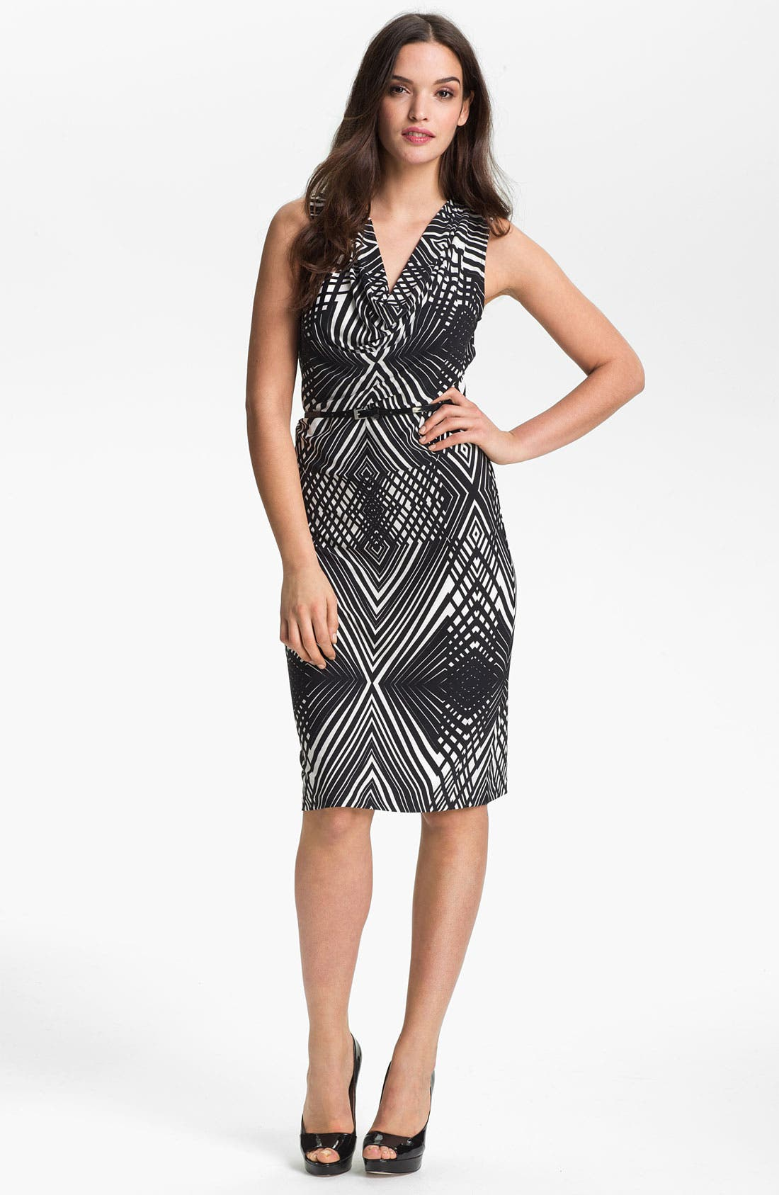 Alternate Image 1 Selected - Anne Klein 'Abstract Line' Cowl Neck Dress