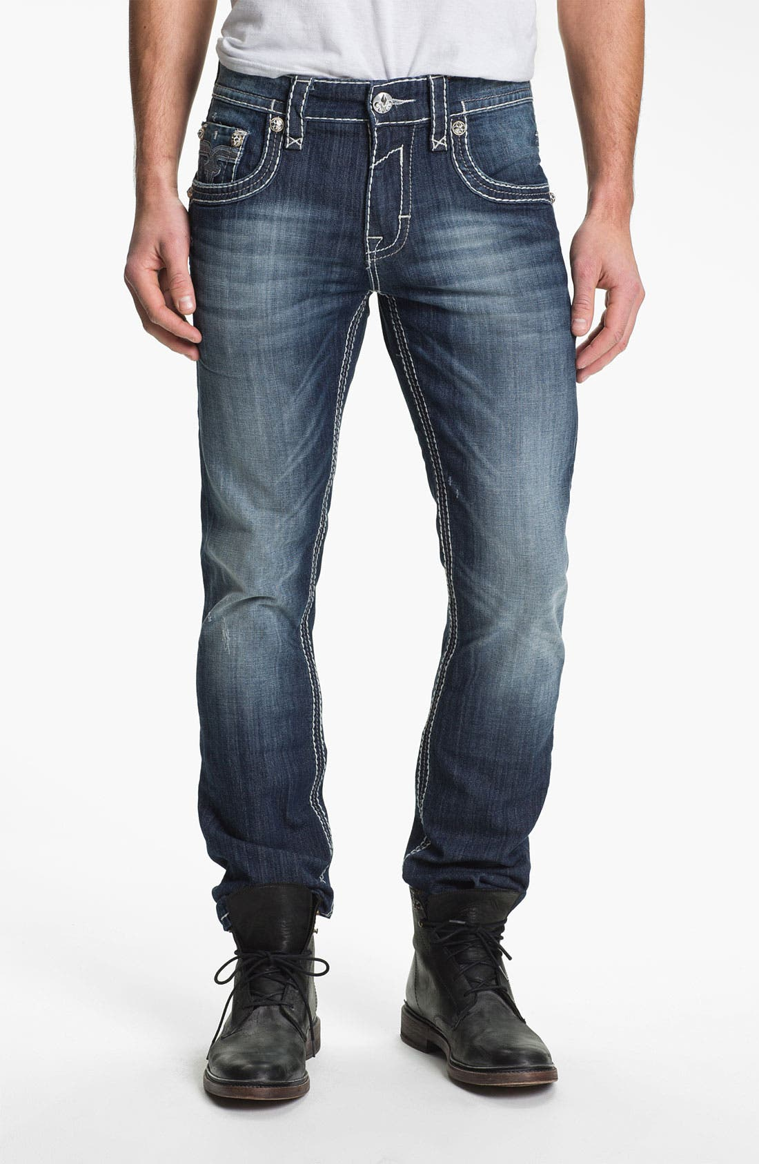 Alternate Image 2  - Rock Revival 'Rocky' Straight Leg Jeans (Medium Blue)