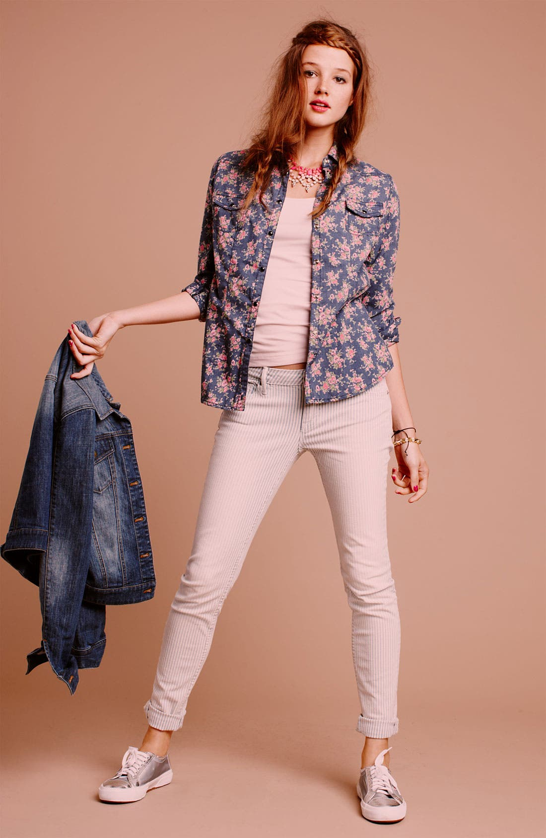 Alternate Image 3  - Vigoss Stripe Skinny Jeans (Juniors)