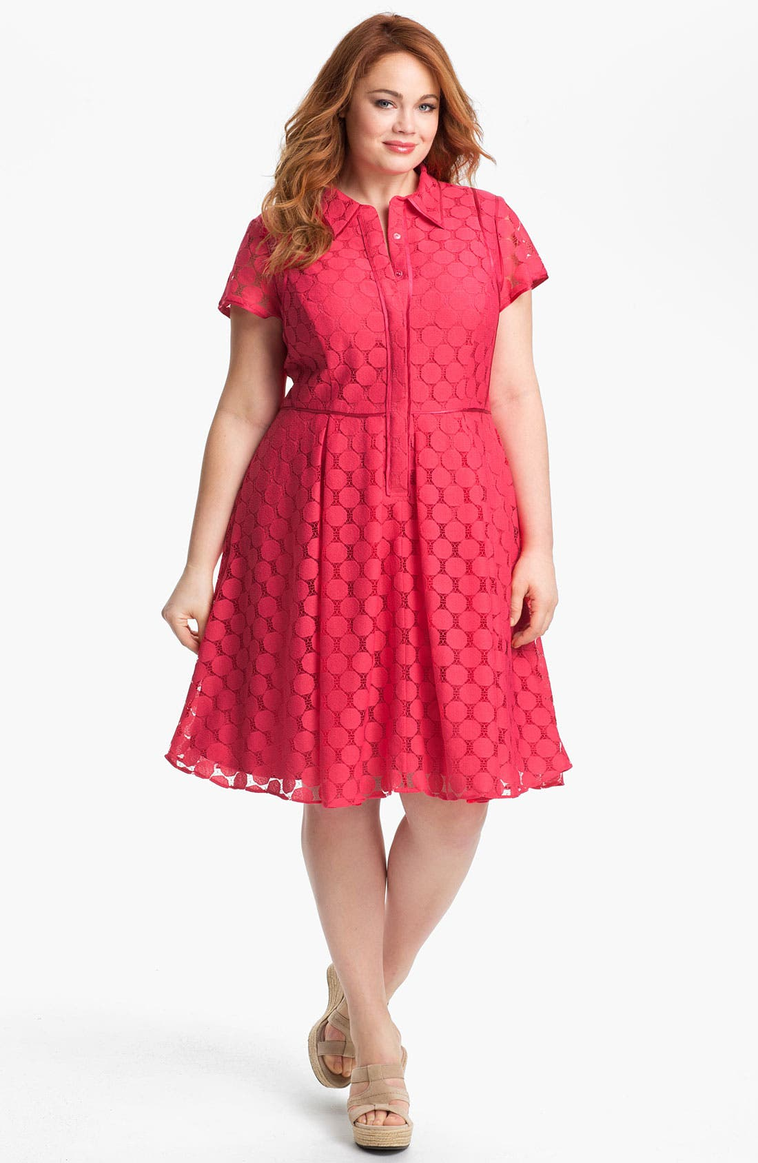 Alternate Image 1 Selected - Adrianna Papell Fit & Flare Shirtdress (Plus)