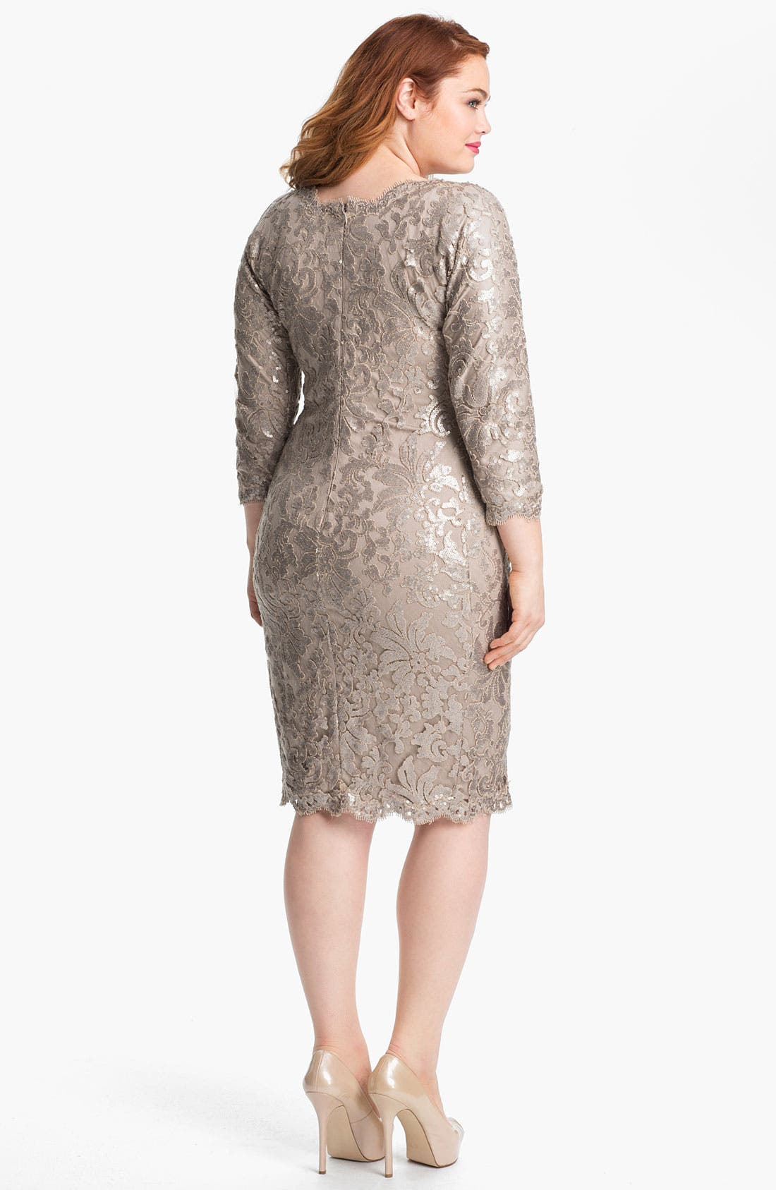 Alternate Image 2  - Tadashi Shoji Metallic Jacquard Tulle & Lace Dress (Plus Size)