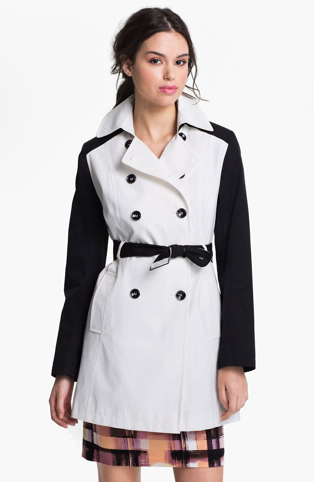 Alternate Image 1 Selected - DKNY Two Tone Trench Coat (Online Only)