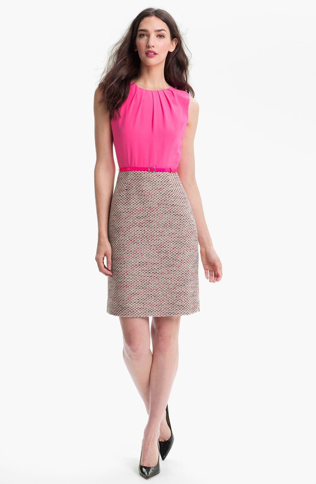 Alternate Image 1 Selected - kate spade new york 'evelyn' silk & tweed sheath dress