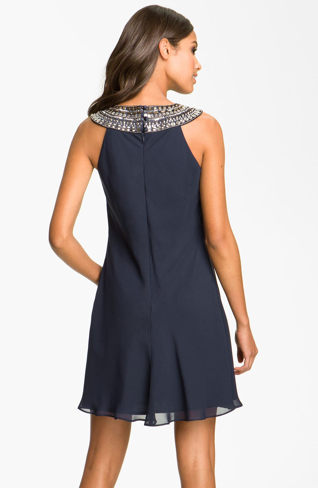 Alternate Image 2  - JS Boutique Embellished Chiffon Trapeze Dress (Petite)