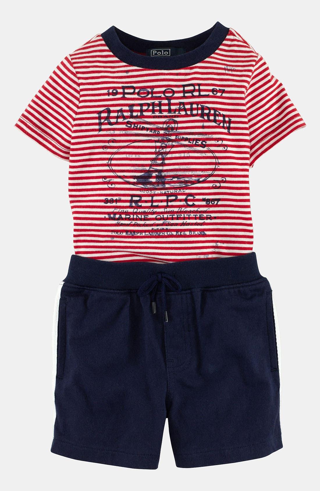Alternate Image 2  - Ralph Lauren T-Shirt & Shorts (Baby)
