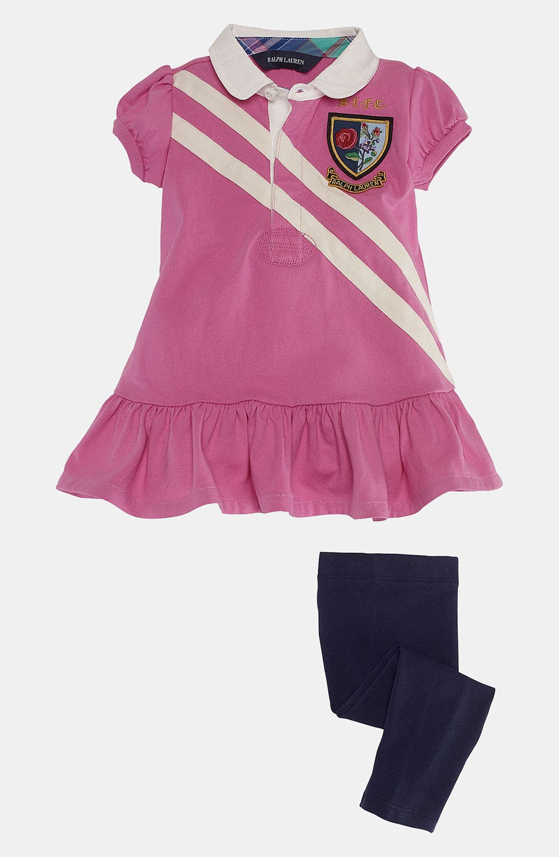 Alternate Image 2  - Ralph Lauren Diagonal Stripe Tunic & Leggings (Baby)