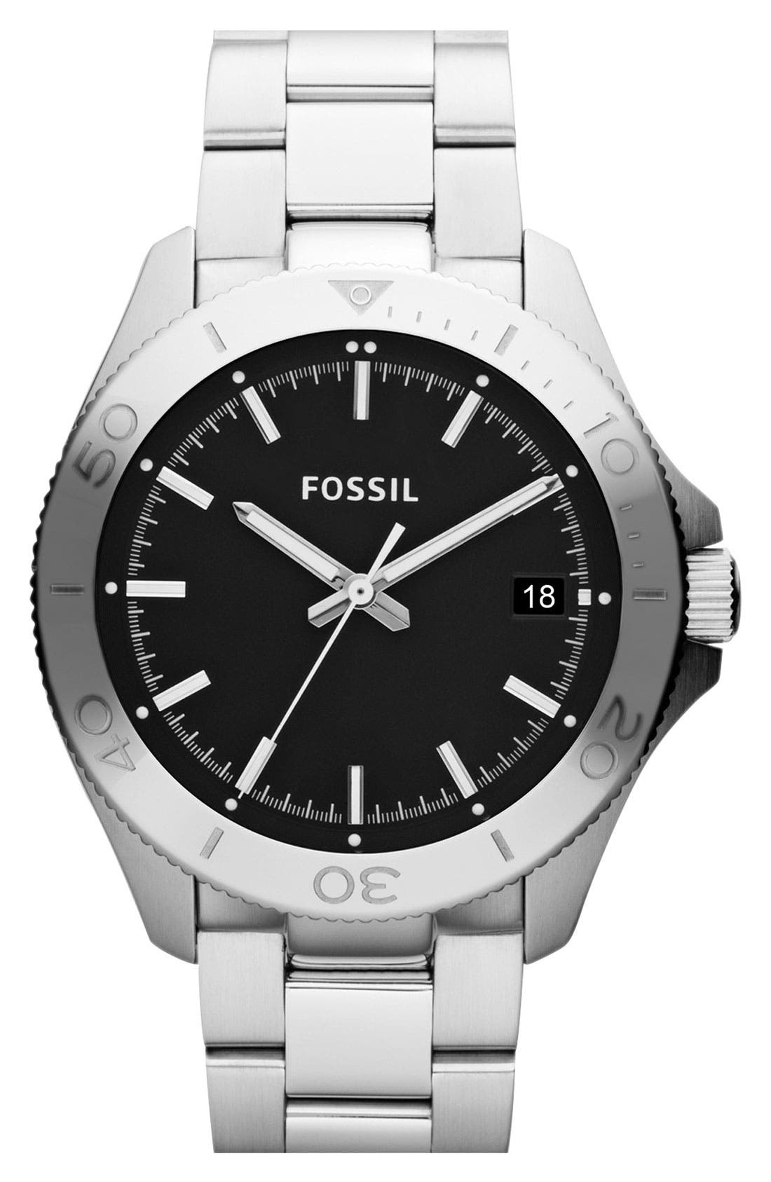 Alternate Image 1 Selected - Fossil 'Retro Traveler' Bracelet Watch, 44mm