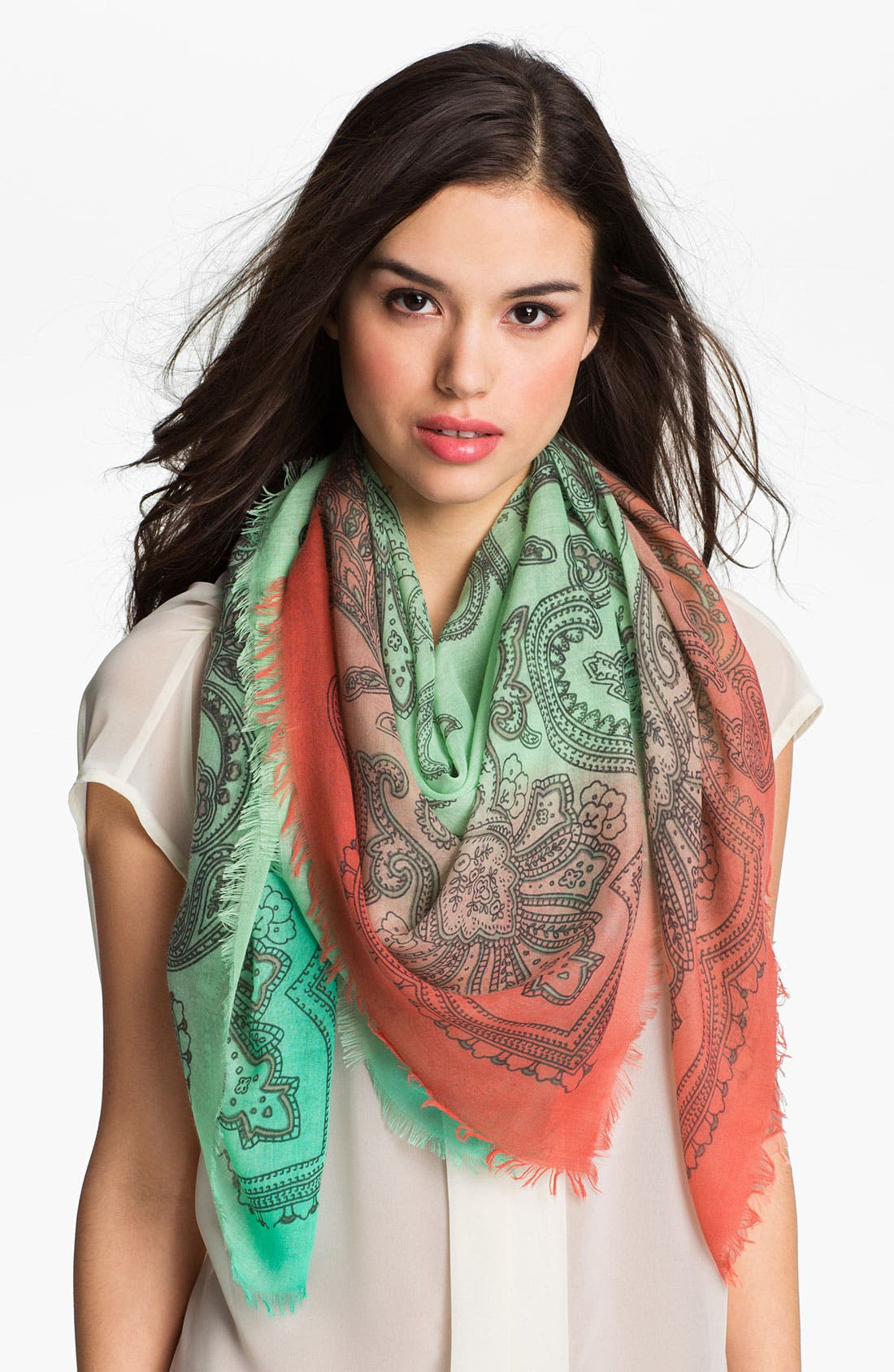 Alternate Image 1 Selected - Jessica Simpson Dip Dye Paisley Scarf