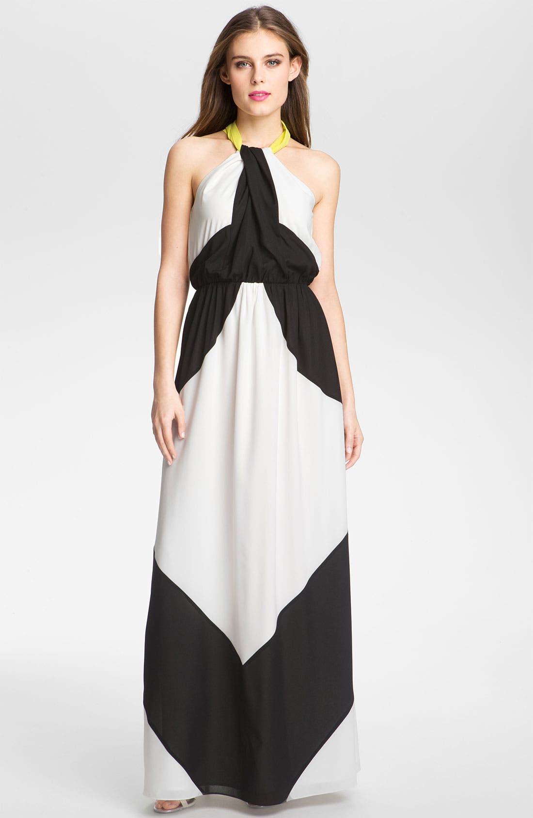 Alternate Image 1 Selected - Vince Camuto Colorblocked Chiffon Maxi Dress